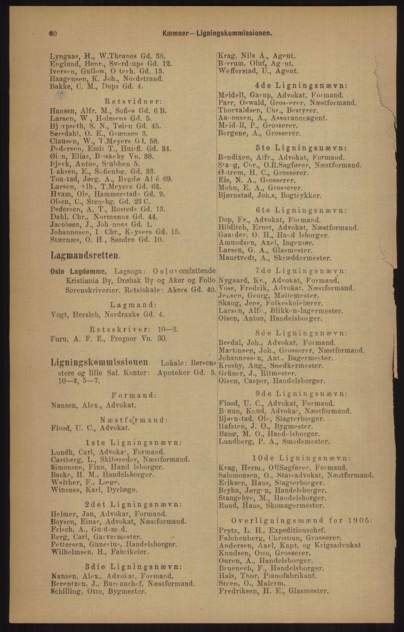 RA, Kristiania adressebok (publikasjon)*, 1905, s. 60