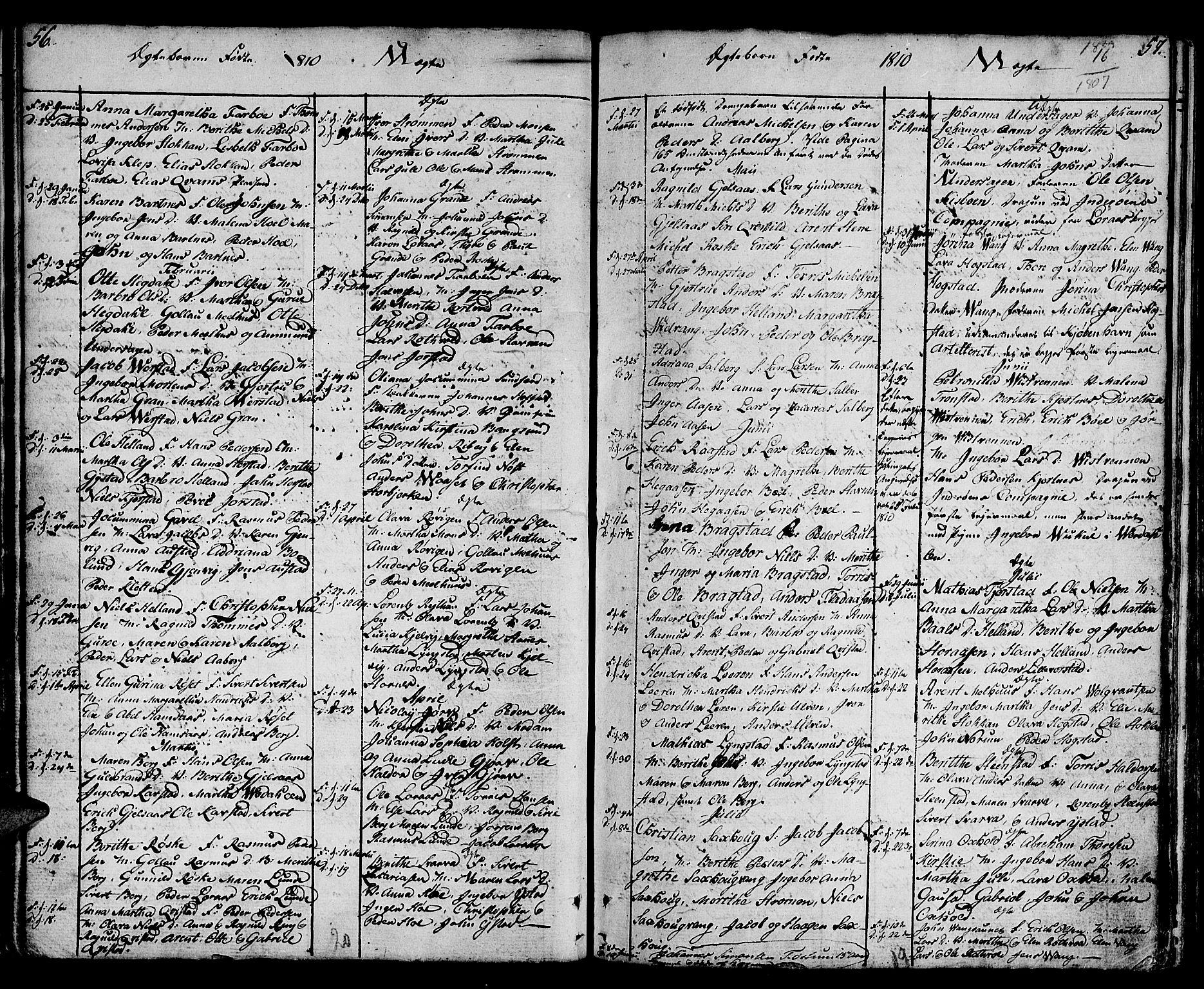 SAT, Ministerialprotokoller, klokkerbøker og fødselsregistre - Nord-Trøndelag, 730/L0274: Ministerialbok nr. 730A03, 1802-1816, s. 56-57