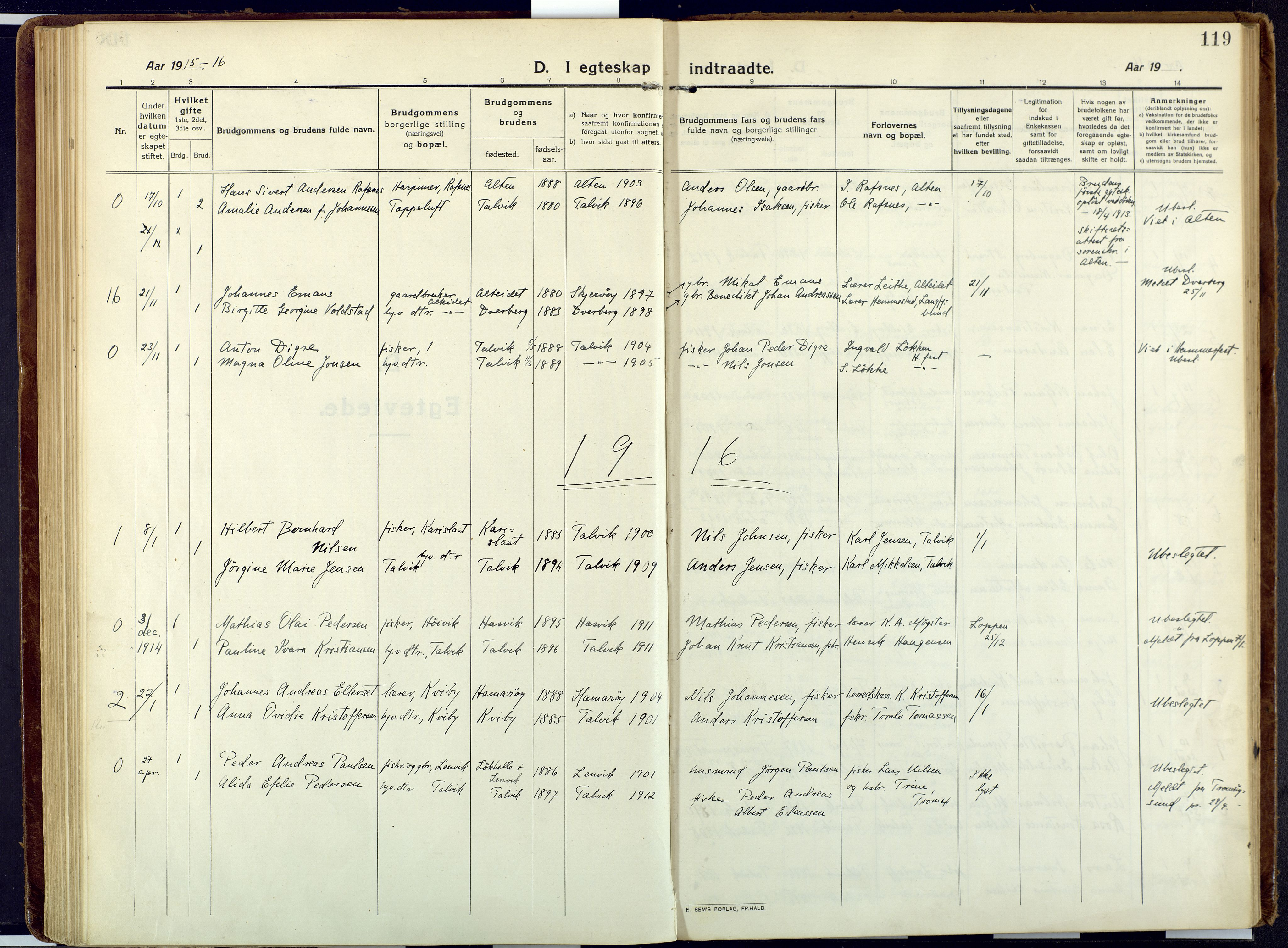 SATØ, Talvik sokneprestkontor, H/Ha/L0018kirke: Ministerialbok nr. 18, 1915-1924, s. 119