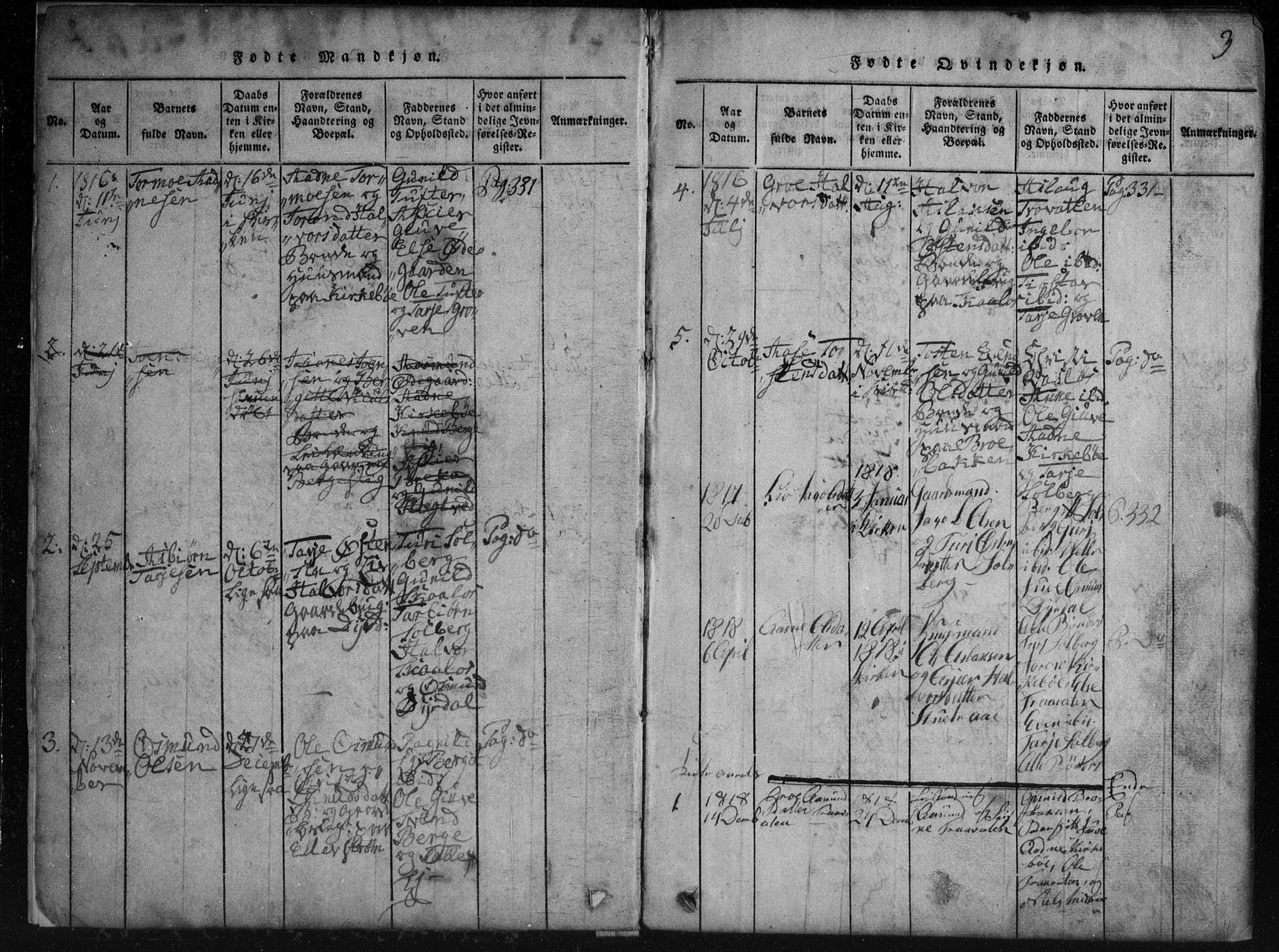 SAKO, Rauland kirkebøker, G/Gb/L0001: Klokkerbok nr. II 1, 1815-1886, s. 3