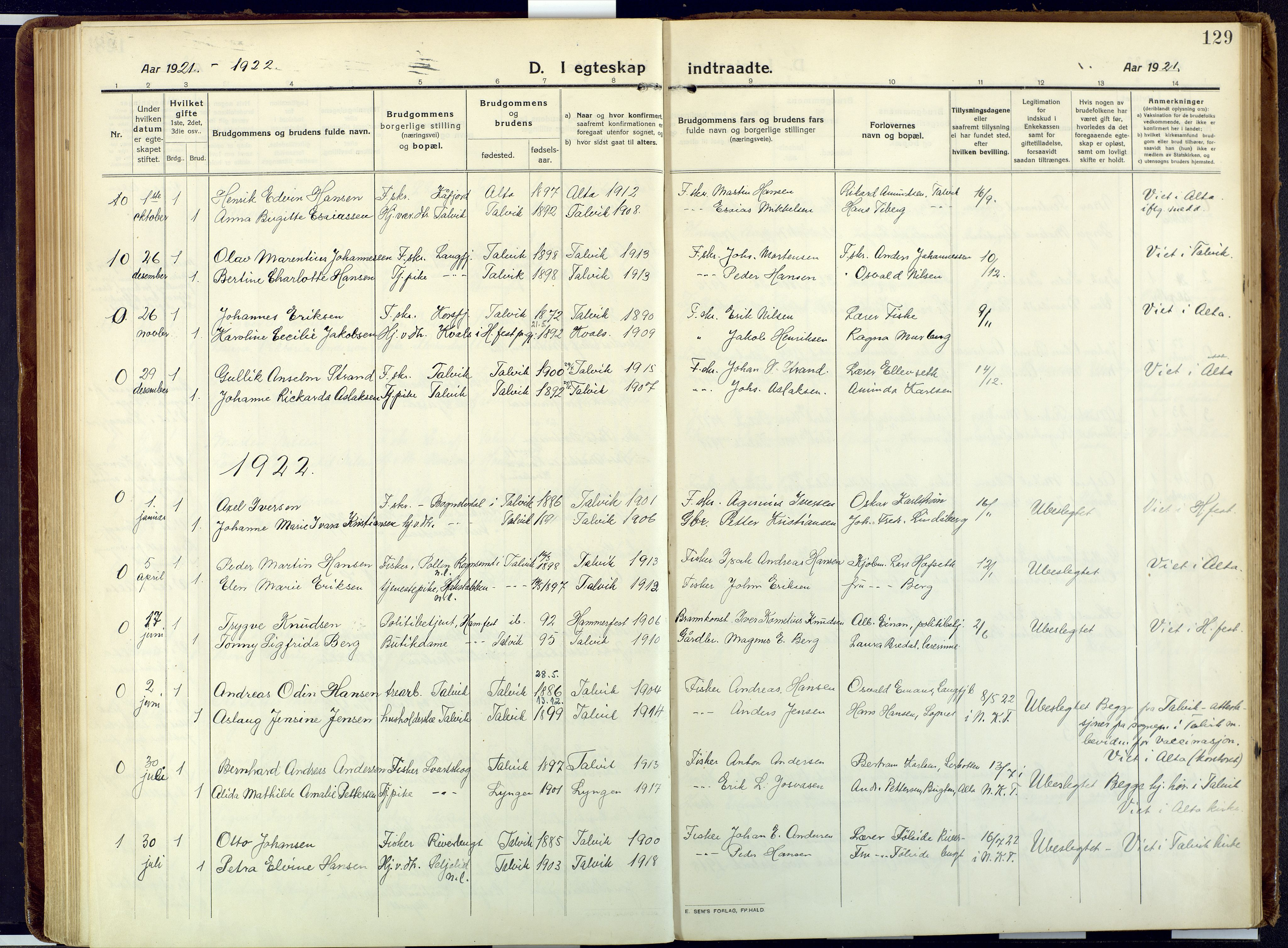 SATØ, Talvik sokneprestkontor, H/Ha/L0018kirke: Ministerialbok nr. 18, 1915-1924, s. 129