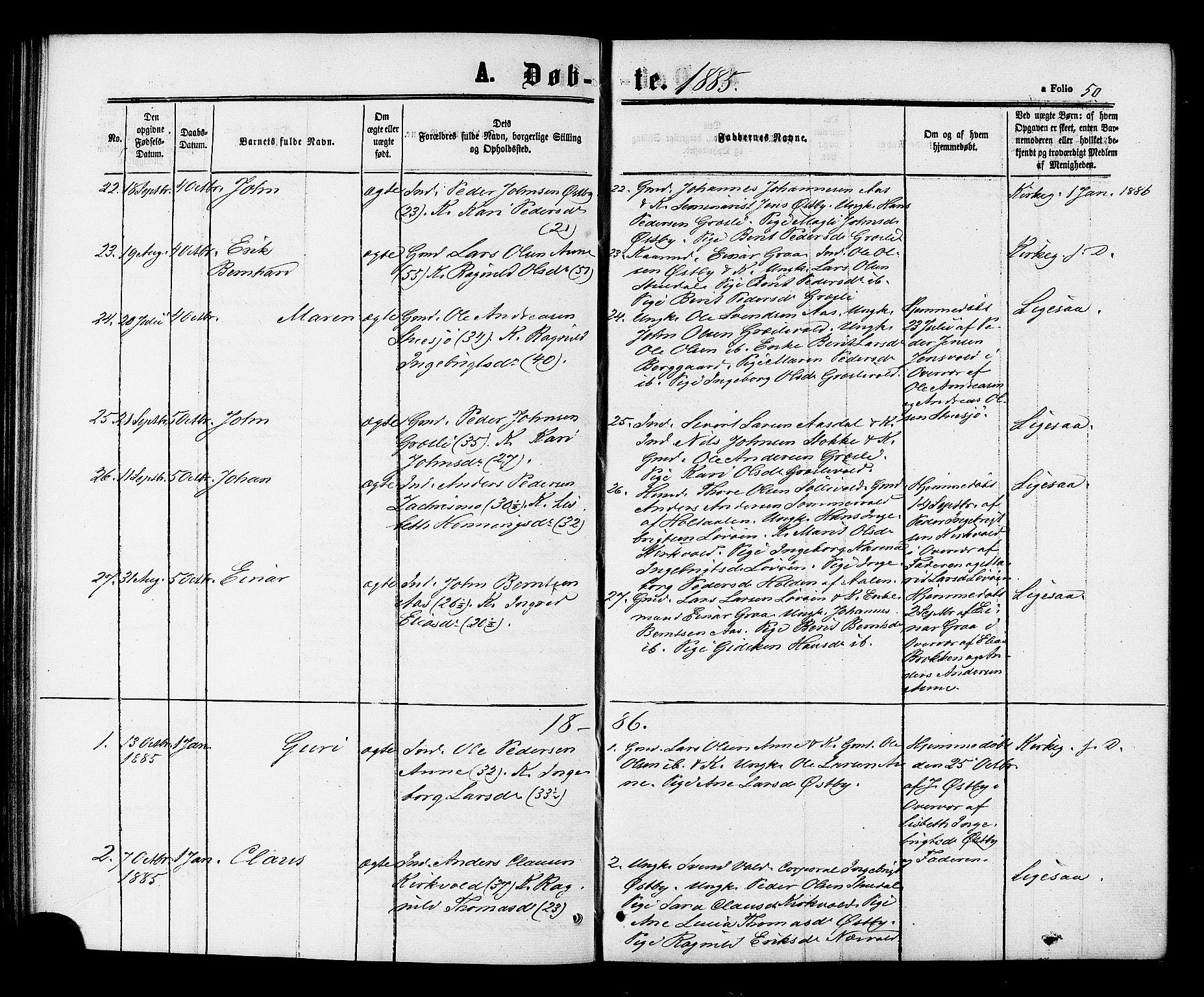 SAT, Ministerialprotokoller, klokkerbøker og fødselsregistre - Sør-Trøndelag, 698/L1163: Ministerialbok nr. 698A01, 1862-1887, s. 50