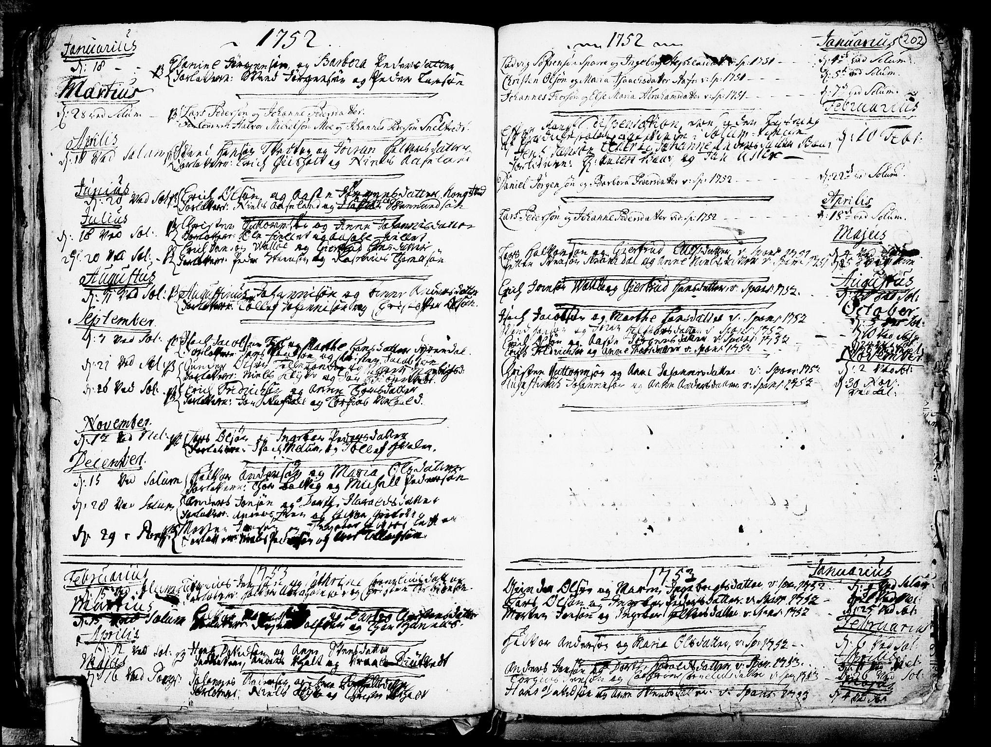 SAKO, Solum kirkebøker, F/Fa/L0002: Ministerialbok nr. I 2, 1713-1761, s. 202