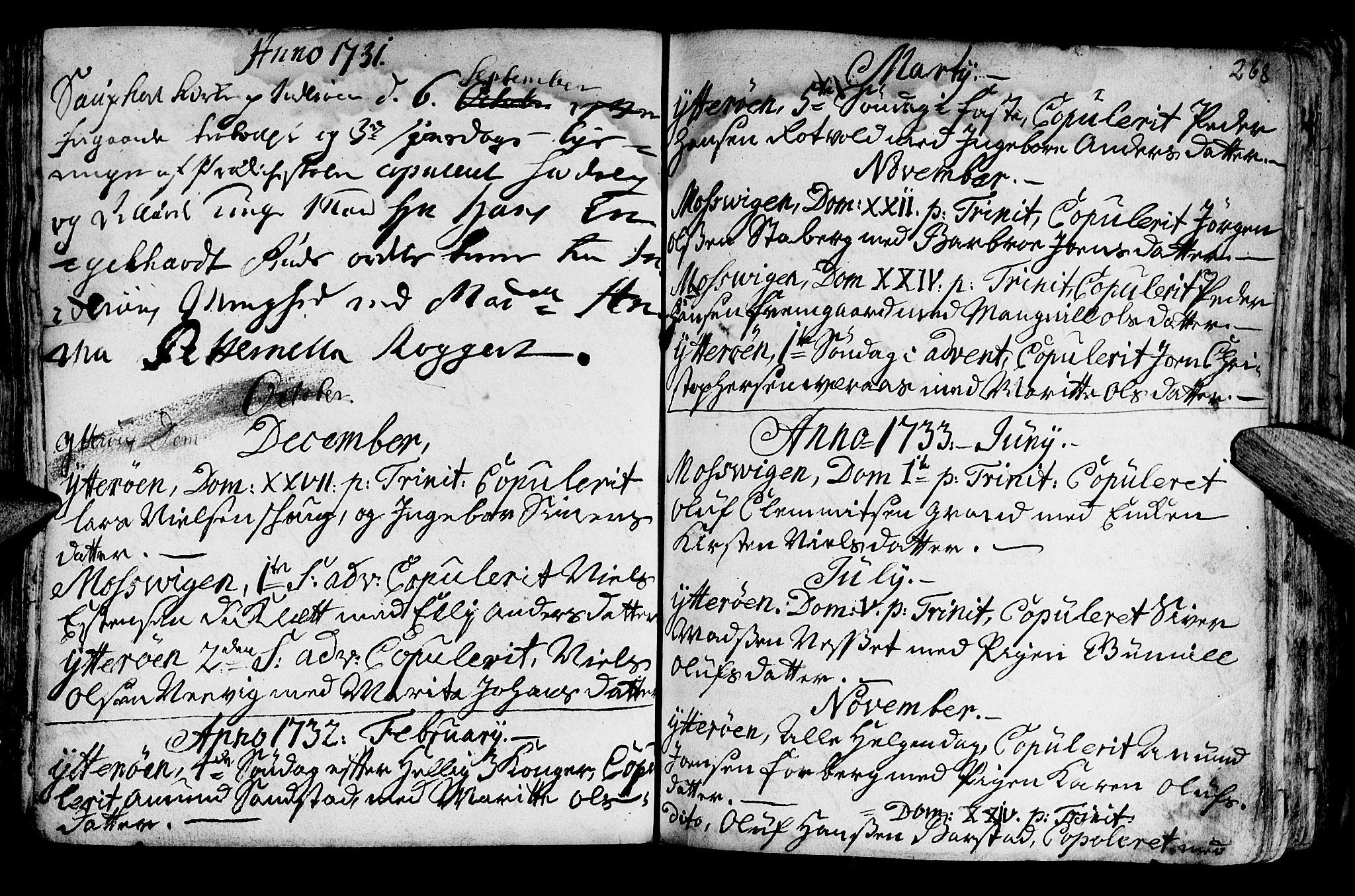 SAT, Ministerialprotokoller, klokkerbøker og fødselsregistre - Nord-Trøndelag, 722/L0215: Ministerialbok nr. 722A02, 1718-1755, s. 268