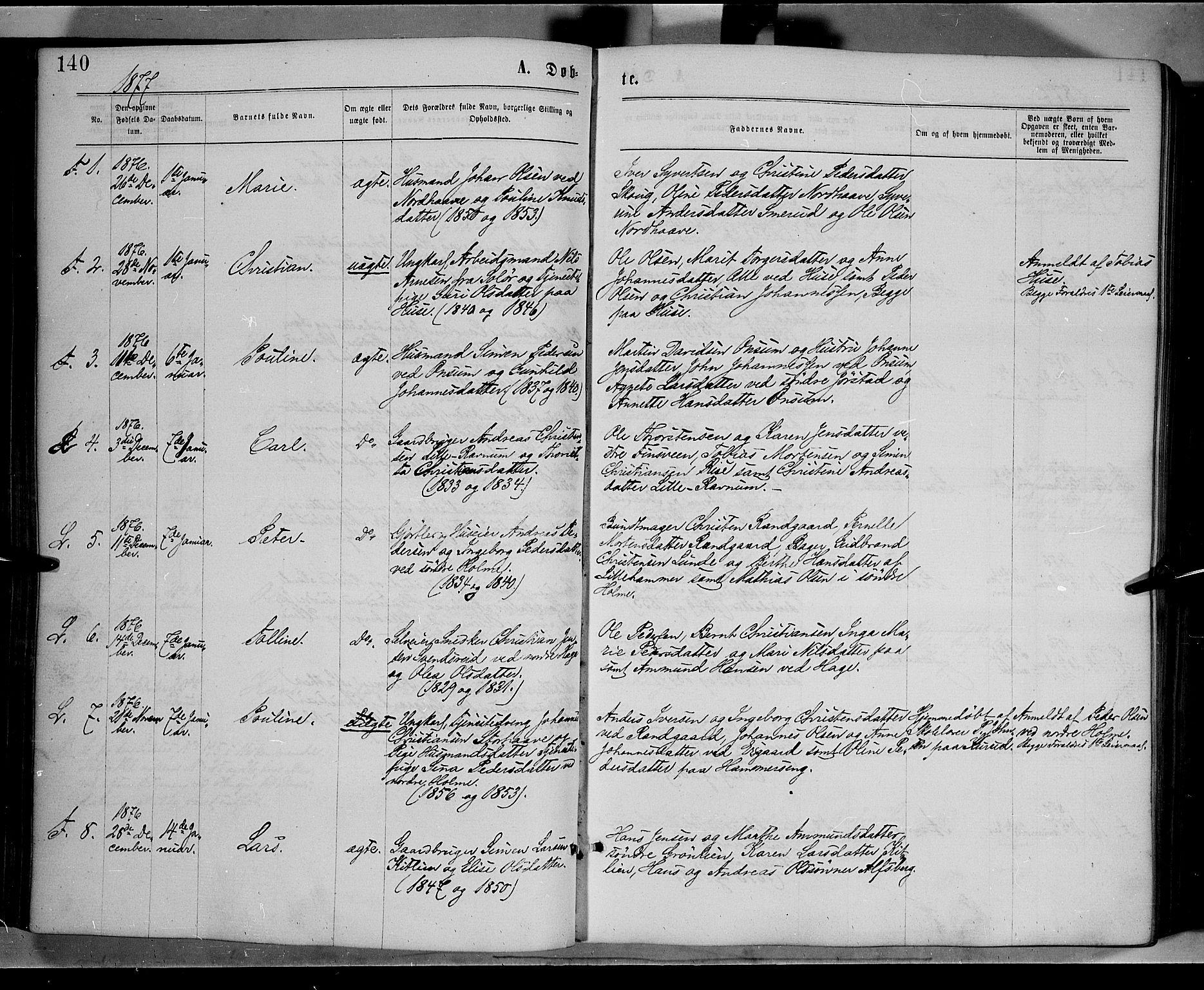 SAH, Fåberg prestekontor, Ministerialbok nr. 7, 1868-1878, s. 140