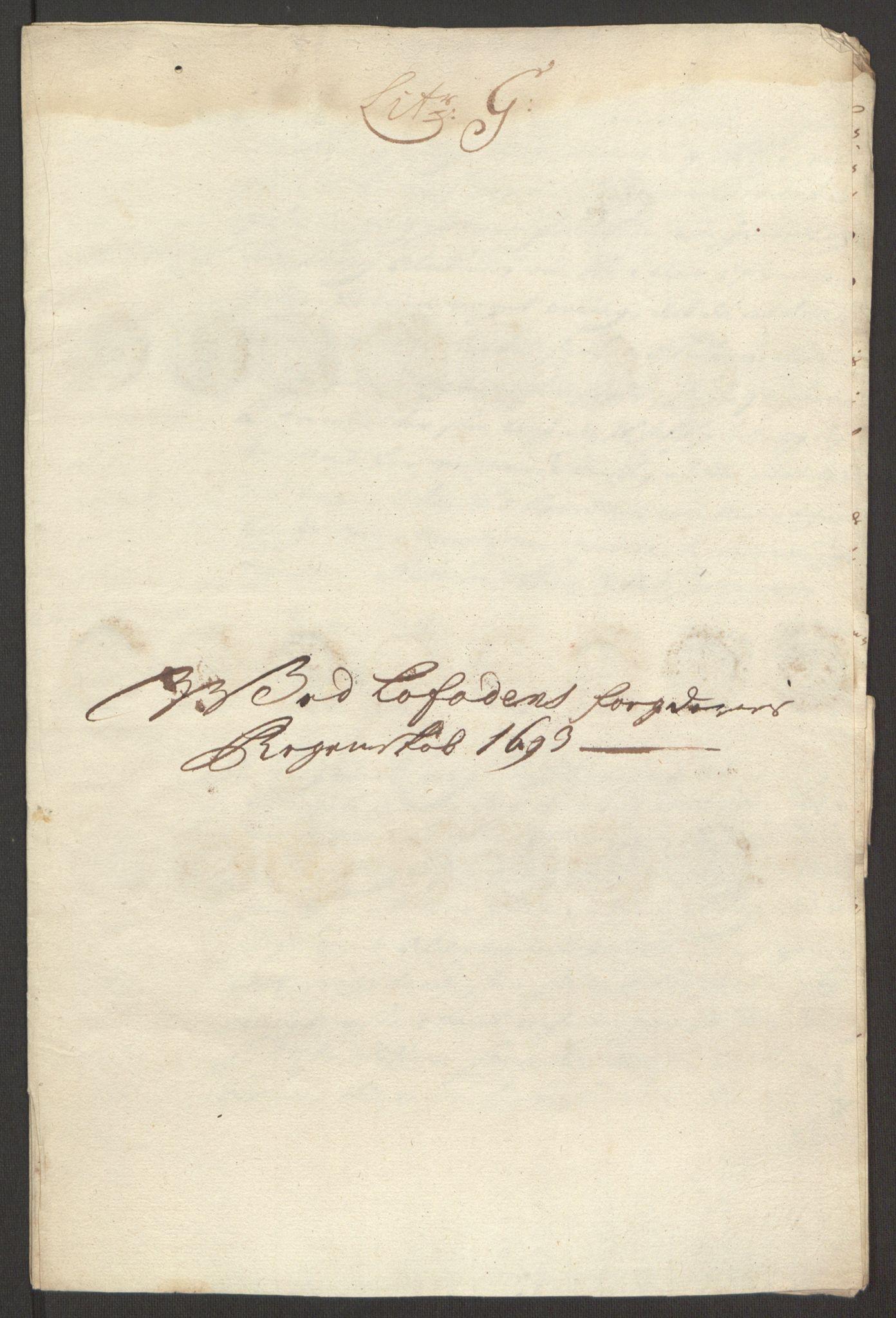 RA, Rentekammeret inntil 1814, Reviderte regnskaper, Fogderegnskap, R67/L4675: Fogderegnskap Vesterålen, Andenes og Lofoten, 1691-1693, s. 275