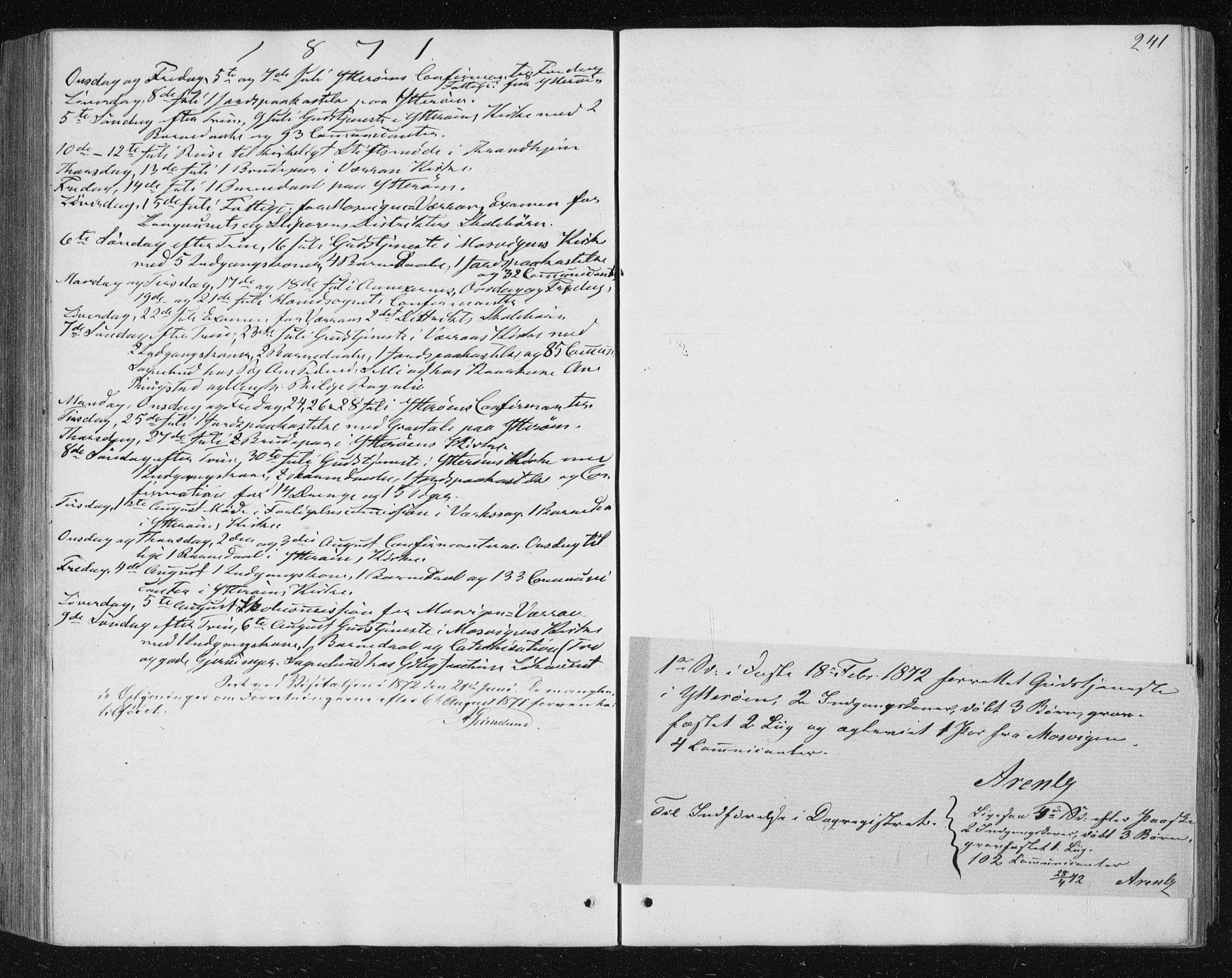 SAT, Ministerialprotokoller, klokkerbøker og fødselsregistre - Nord-Trøndelag, 722/L0219: Ministerialbok nr. 722A06, 1868-1880, s. 241