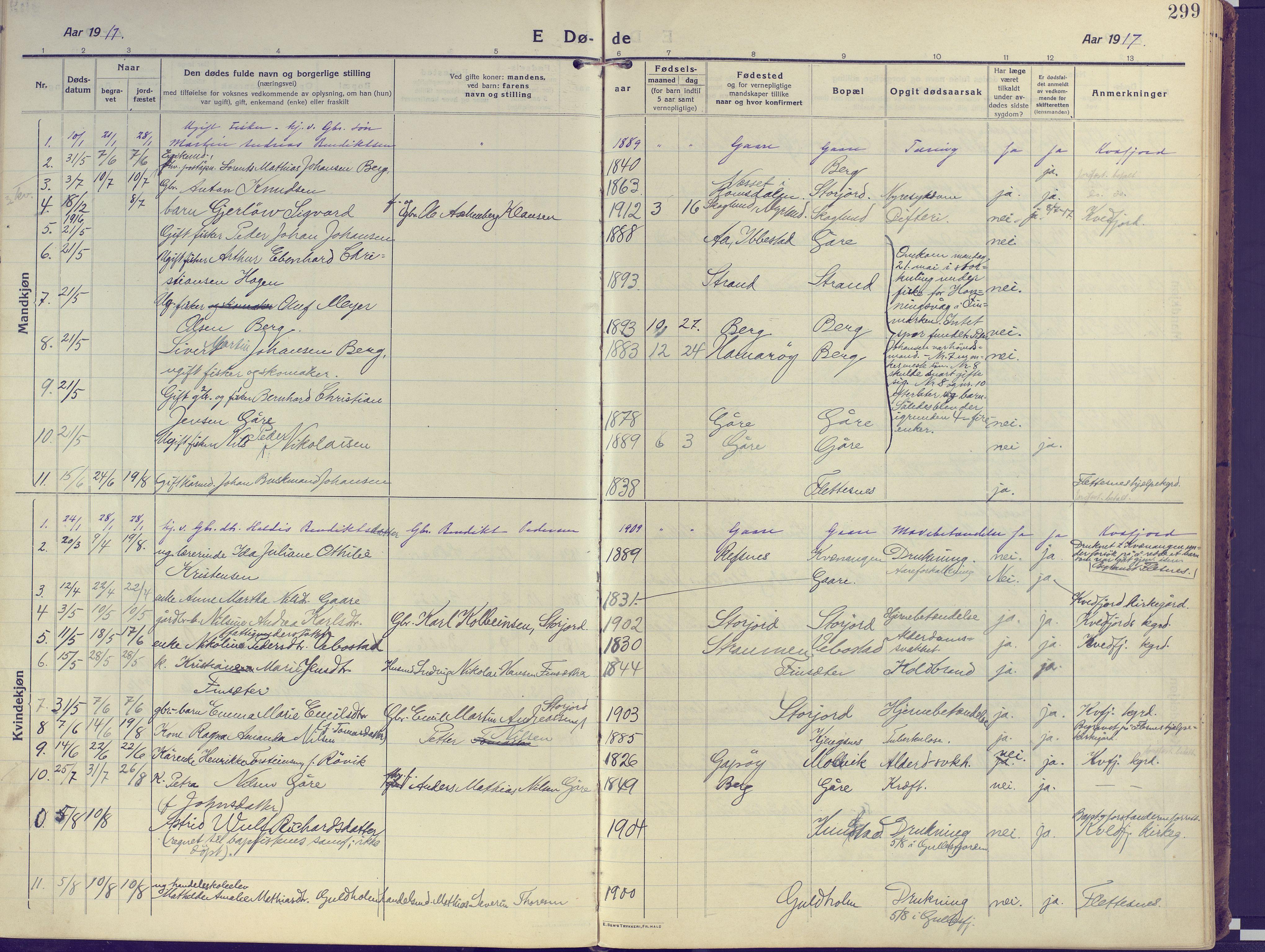 SATØ, Kvæfjord sokneprestkontor, G/Ga/Gaa/L0007kirke: Ministerialbok nr. 7, 1915-1931, s. 299