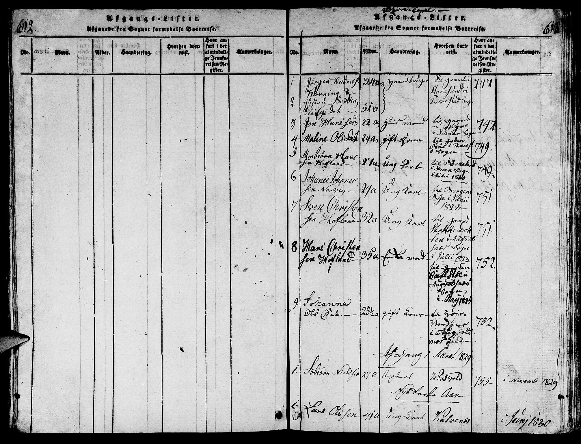 SAST, Torvastad sokneprestkontor, H/Ha/Hab/L0001: Klokkerbok nr. B 1 /2, 1817-1834, s. 612-613