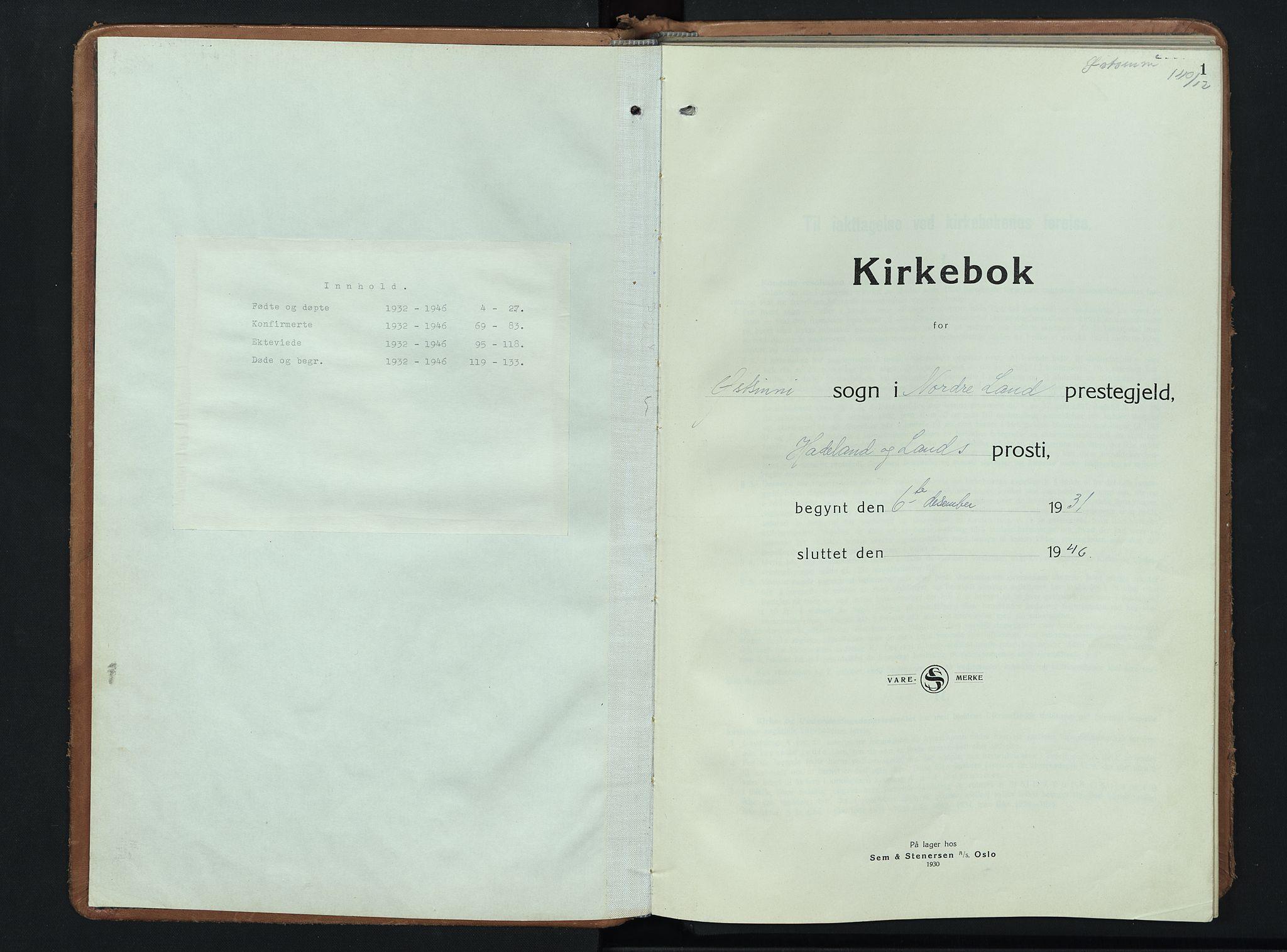 SAH, Nordre Land prestekontor, Klokkerbok nr. 3, 1932-1946, s. 1