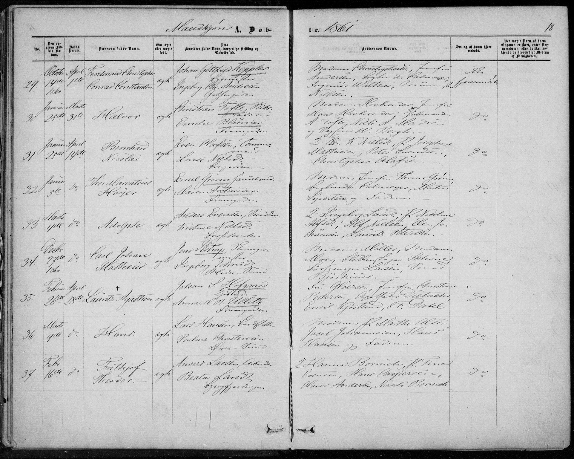 SAKO, Bragernes kirkebøker, F/Fb/L0003: Ministerialbok nr. II 3, 1860-1868, s. 18