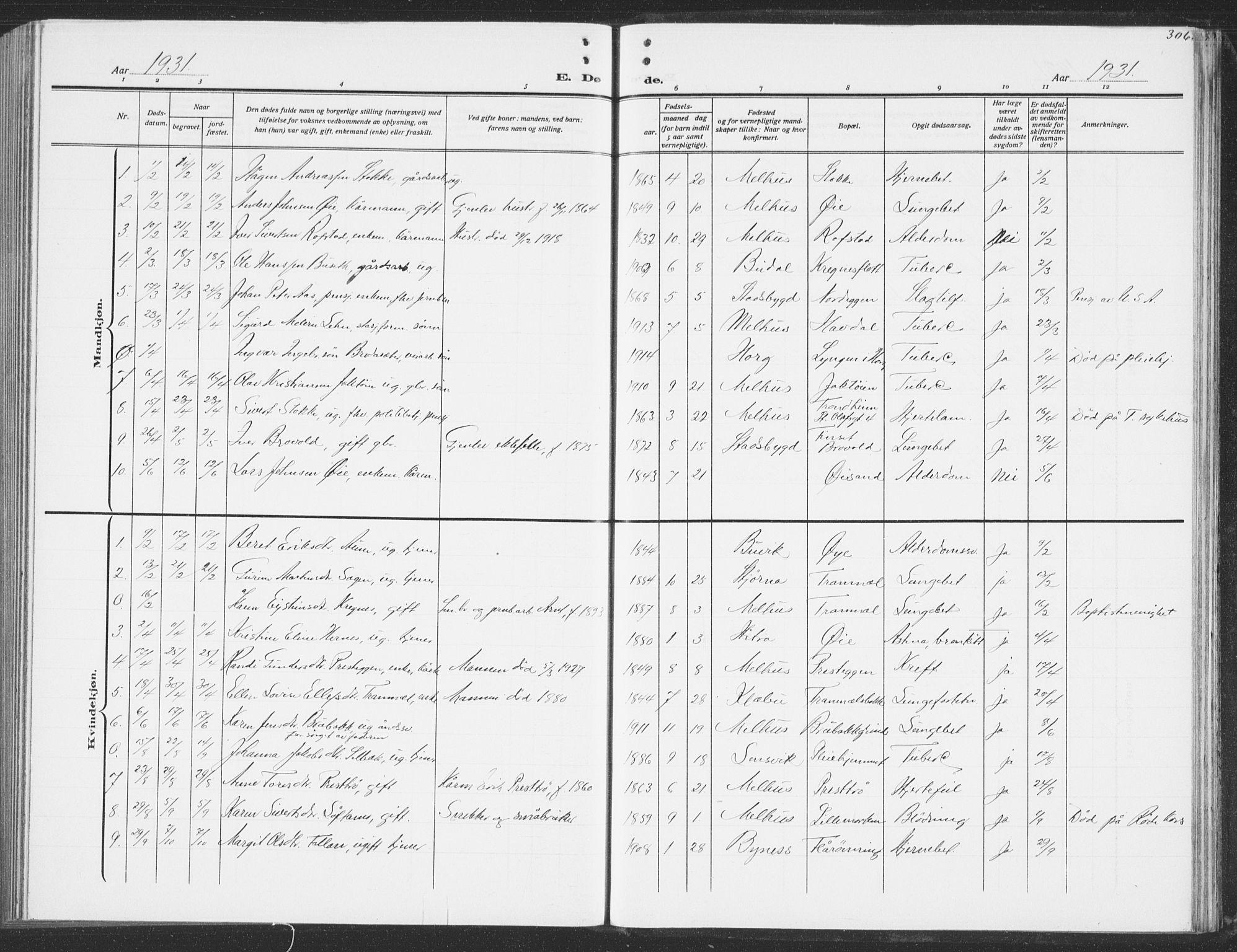 SAT, Ministerialprotokoller, klokkerbøker og fødselsregistre - Sør-Trøndelag, 691/L1095: Klokkerbok nr. 691C06, 1912-1933, s. 306