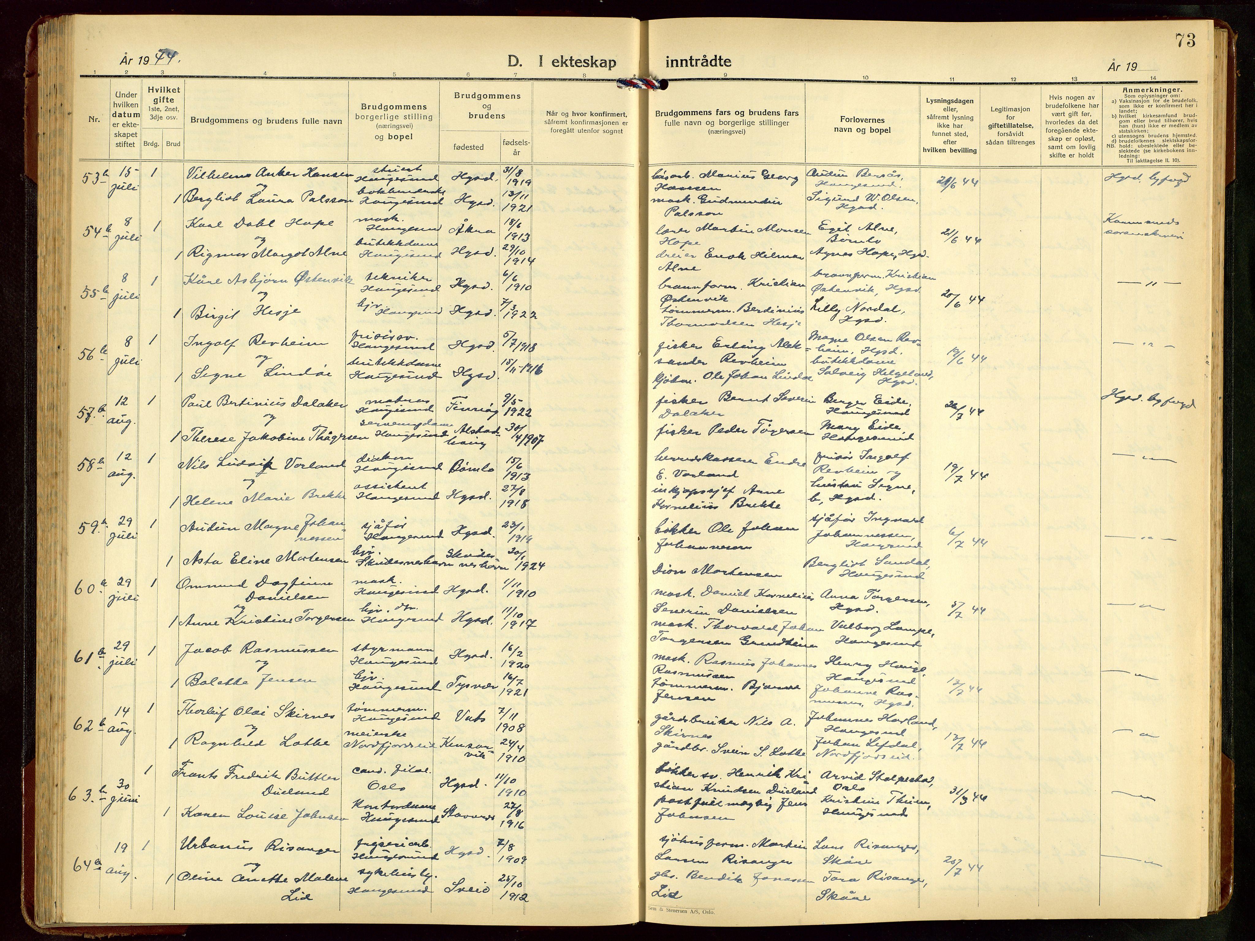 SAST, Haugesund sokneprestkontor, H/Ha/Hab/L0014: Klokkerbok nr. B 14, 1940-1952, s. 73