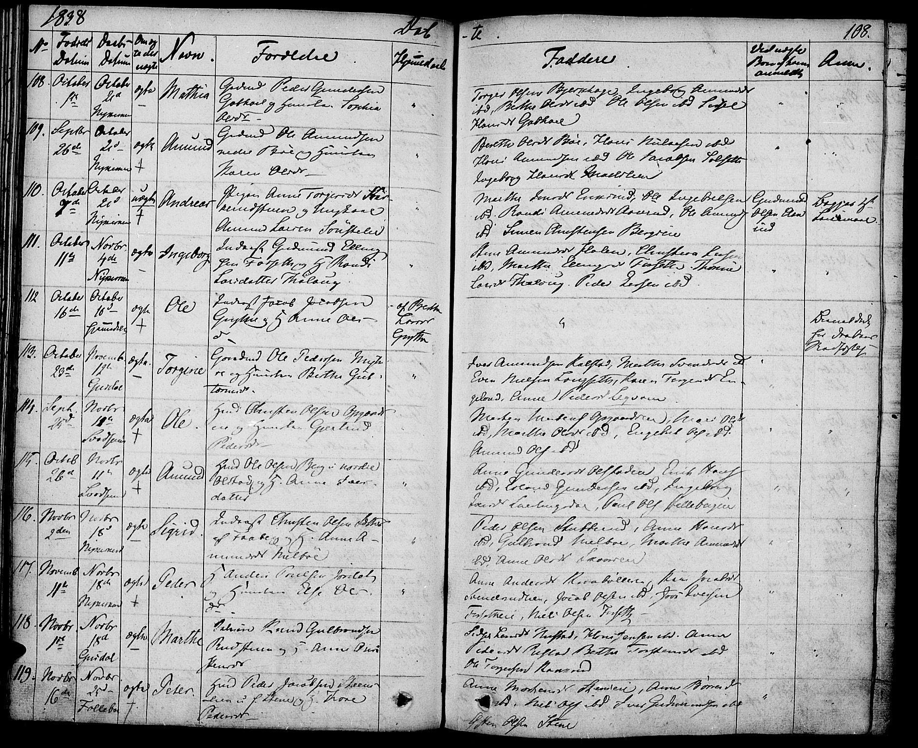 SAH, Gausdal prestekontor, Ministerialbok nr. 6, 1830-1839, s. 108