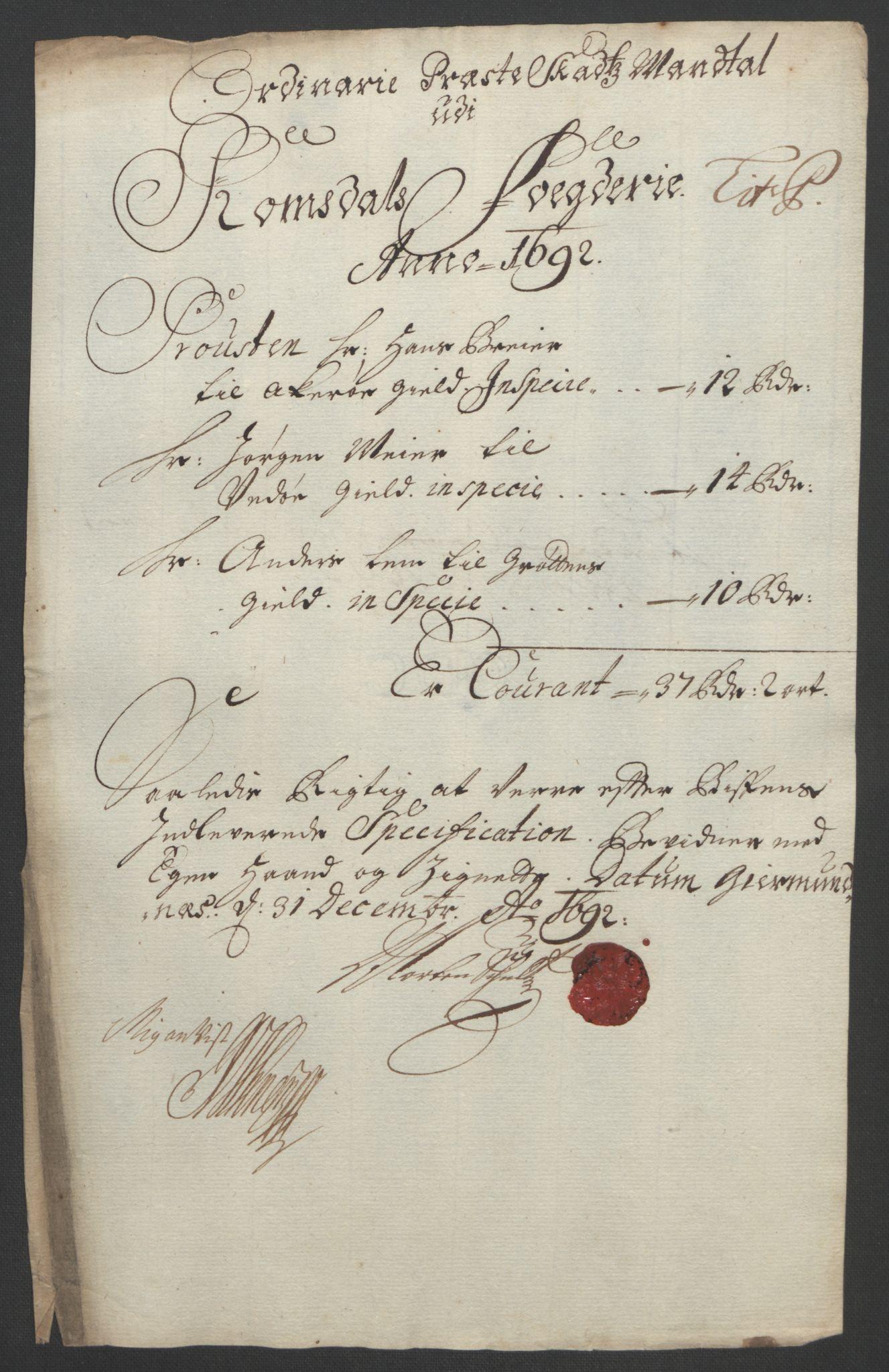 RA, Rentekammeret inntil 1814, Reviderte regnskaper, Fogderegnskap, R55/L3650: Fogderegnskap Romsdal, 1692, s. 168