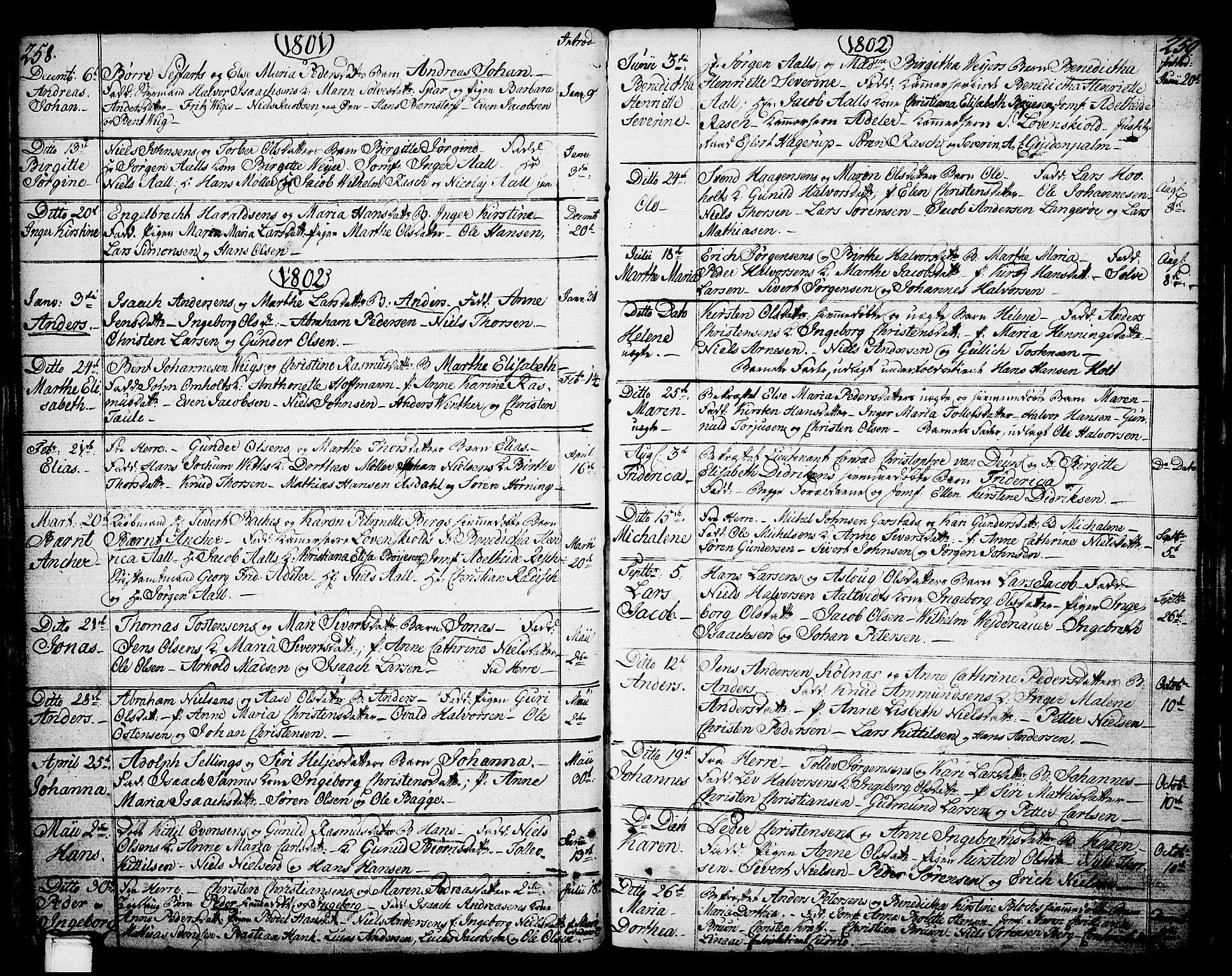 SAKO, Porsgrunn kirkebøker , F/Fa/L0002: Ministerialbok nr. 2, 1764-1814, s. 258-259