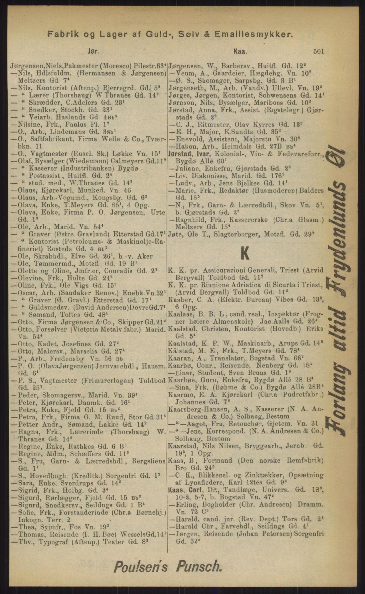 RA, Kristiania adressebok (publikasjon)*, 1903, s. 501