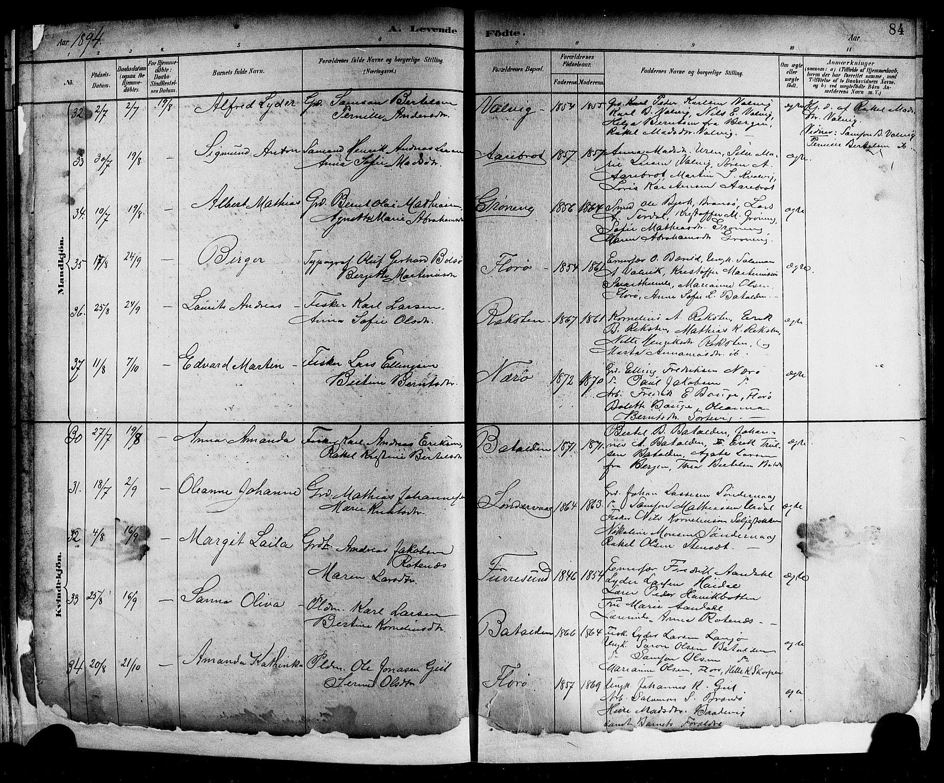 SAB, Kinn sokneprestembete, H: Klokkerbok nr. A 2, 1882-1906, s. 84