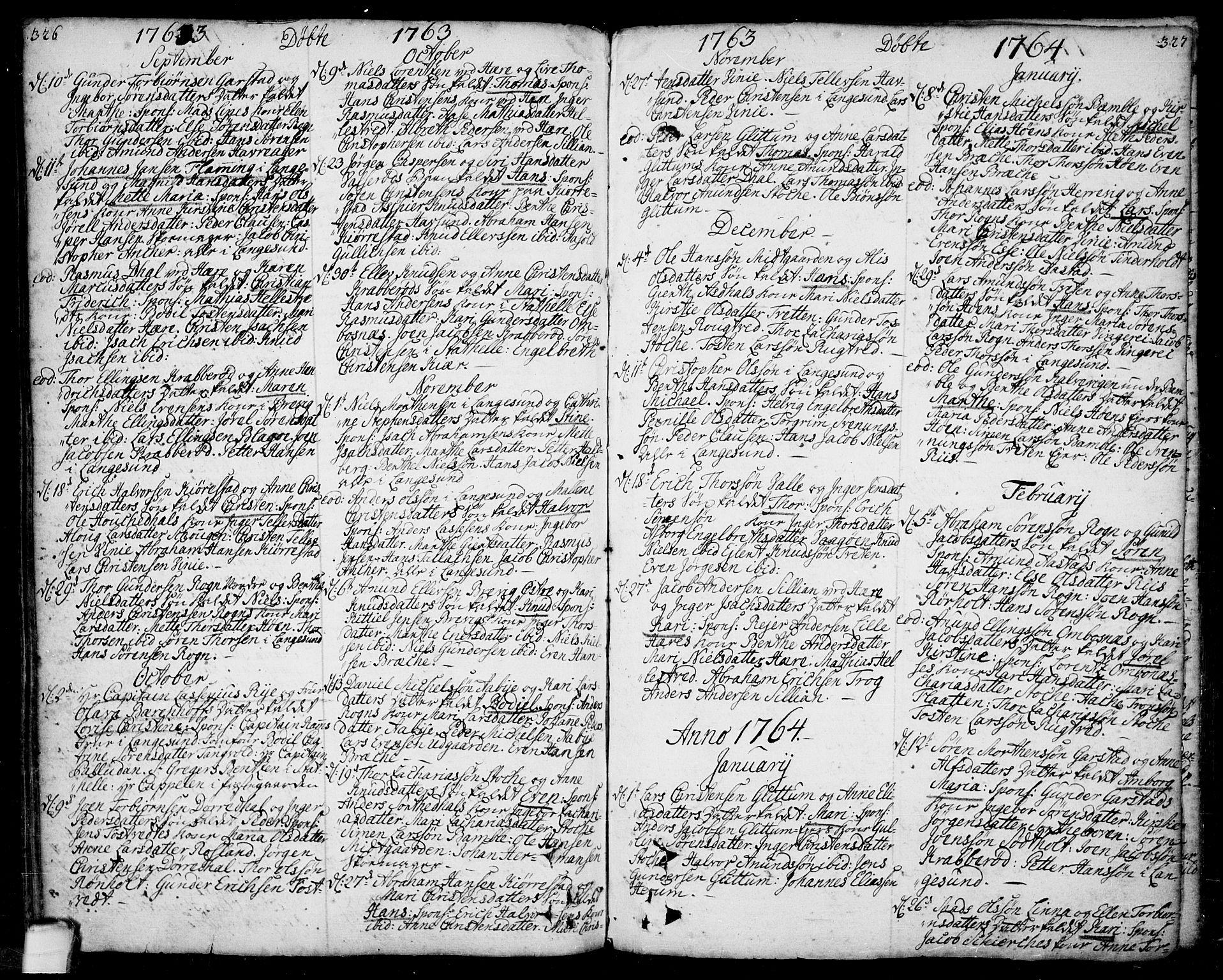 SAKO, Bamble kirkebøker, F/Fa/L0001: Ministerialbok nr. I 1, 1702-1774, s. 326-327