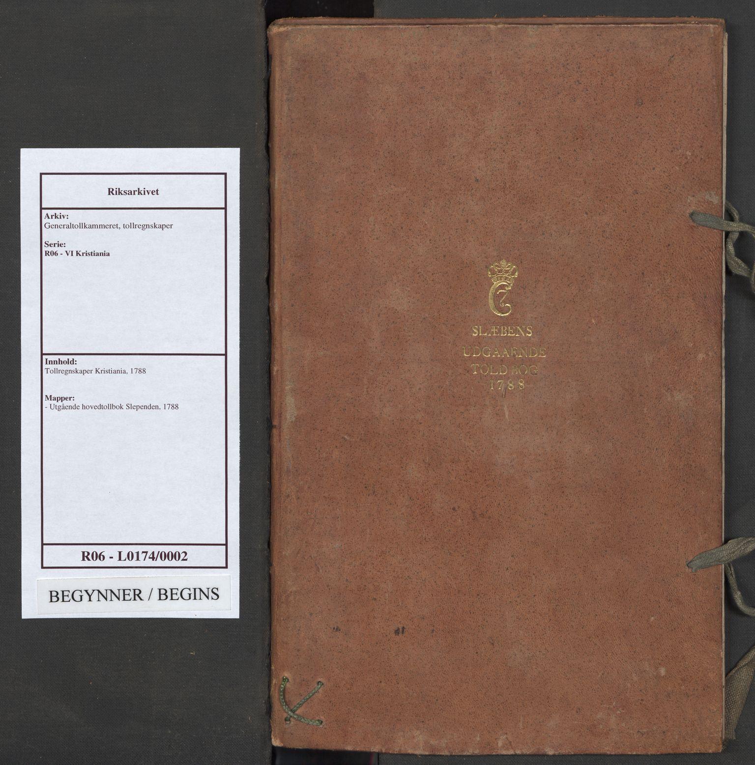 RA, Generaltollkammeret, tollregnskaper, R06/L0174: Tollregnskaper Kristiania, 1788
