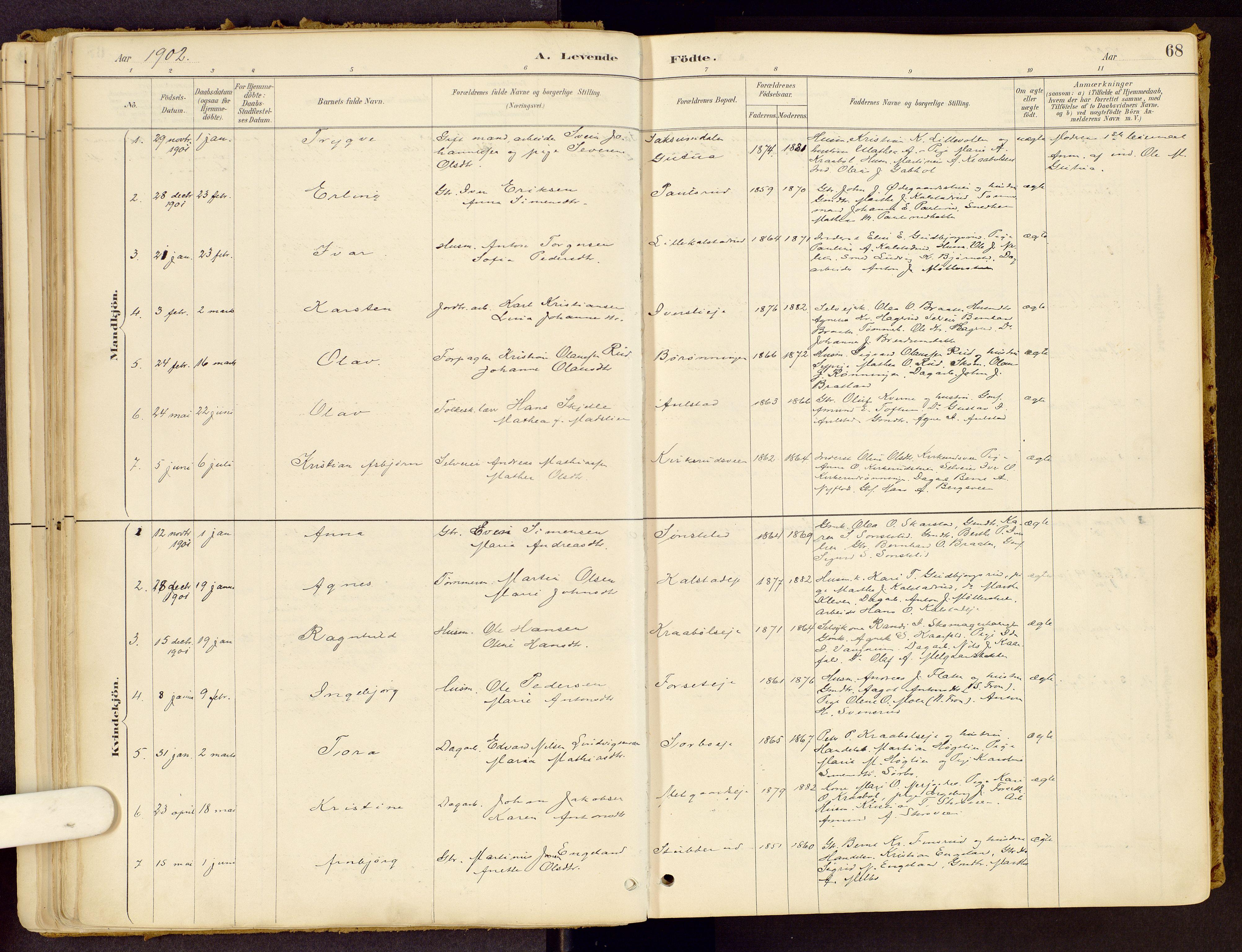 SAH, Vestre Gausdal prestekontor, Ministerialbok nr. 1, 1887-1914, s. 68