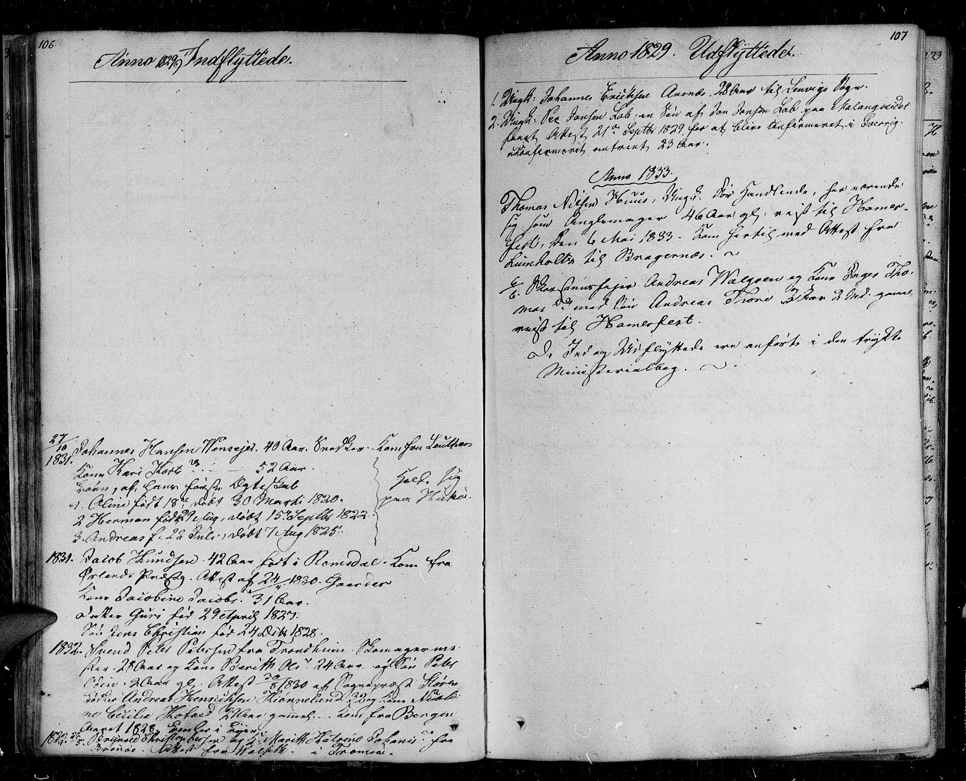 SATØ, Tromsø sokneprestkontor/stiftsprosti/domprosti, G/Ga/L0008kirke: Ministerialbok nr. 8, 1829-1837, s. 106-107
