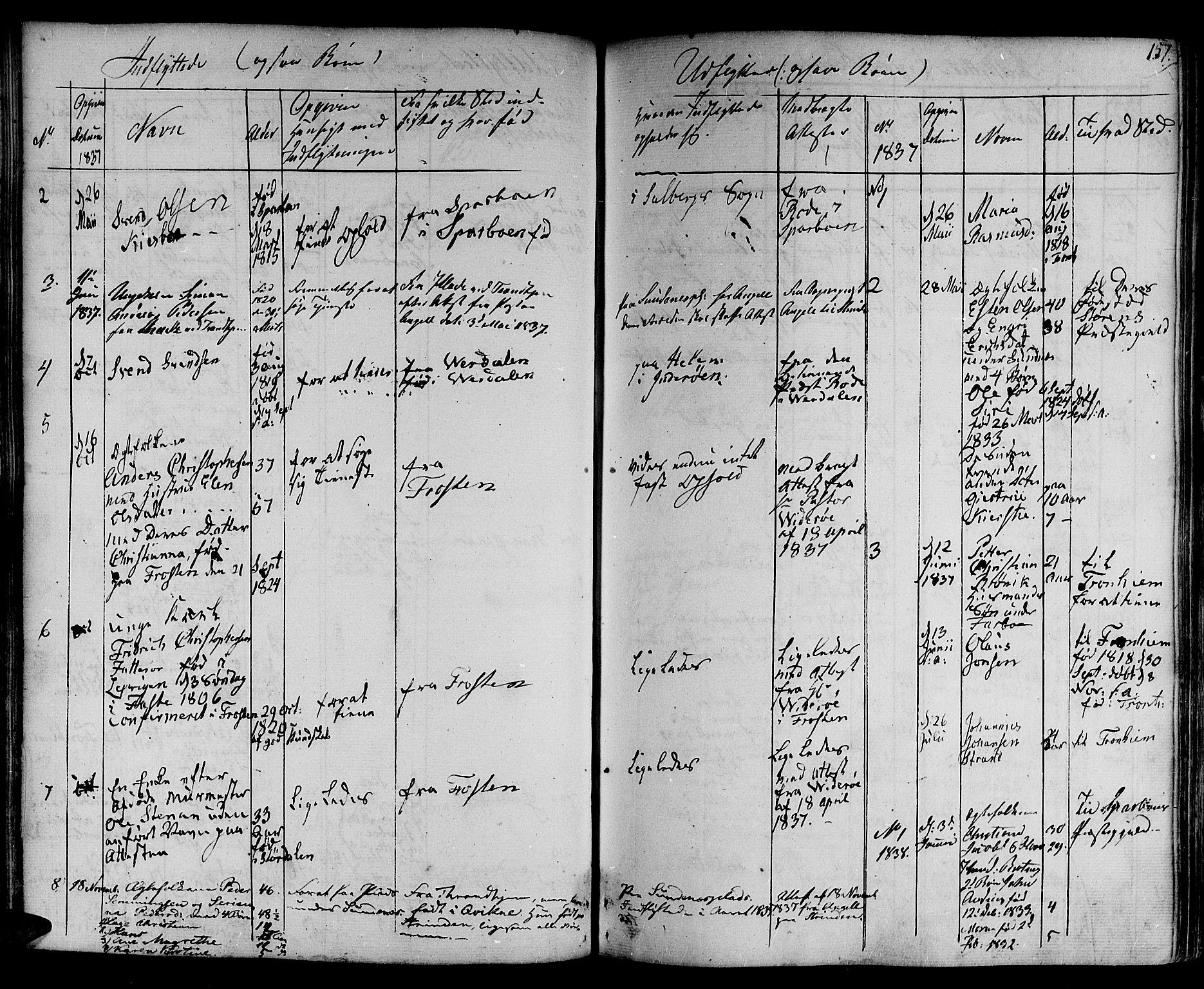 SAT, Ministerialprotokoller, klokkerbøker og fødselsregistre - Nord-Trøndelag, 730/L0277: Ministerialbok nr. 730A06 /1, 1830-1839, s. 157