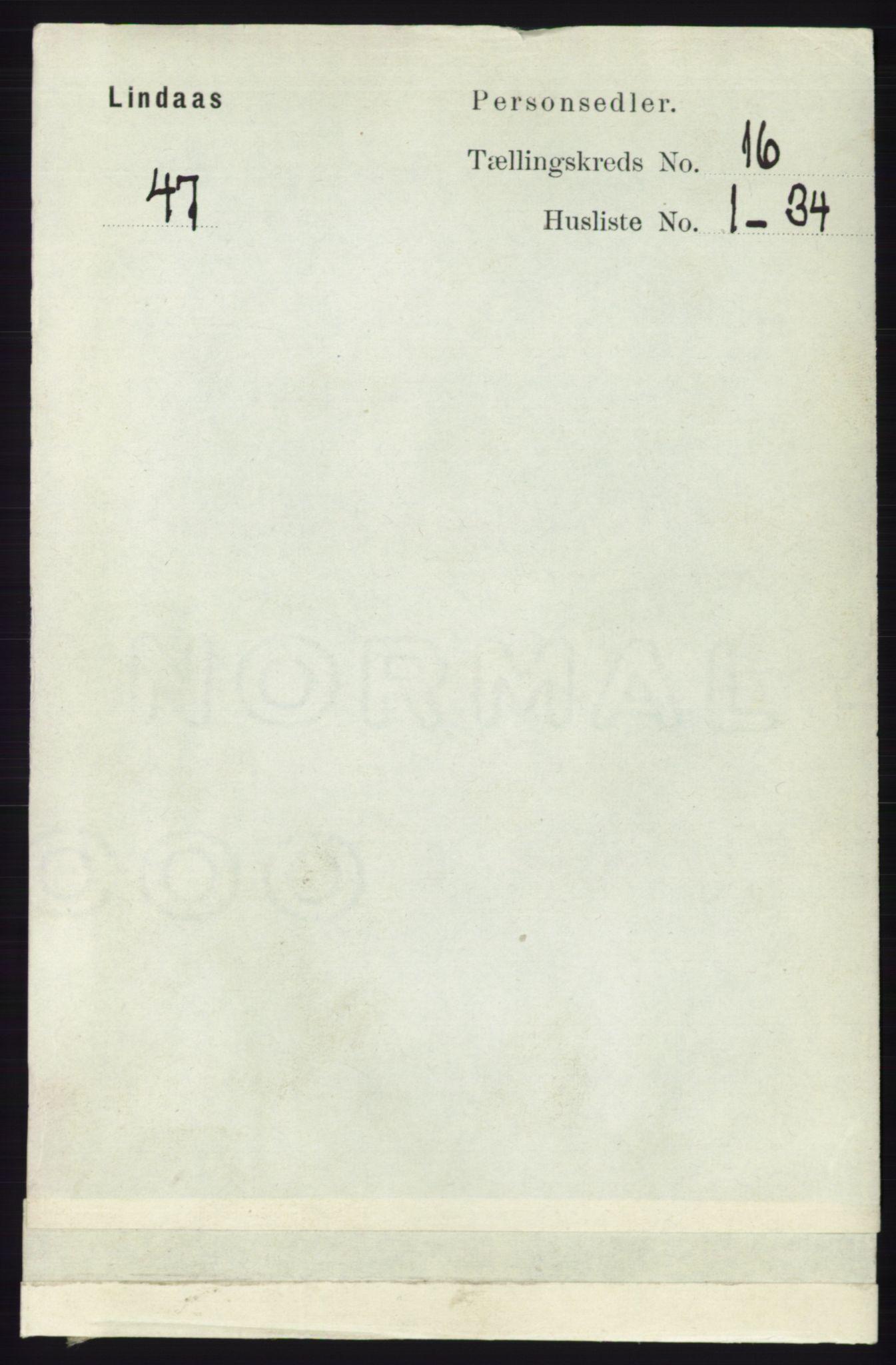 RA, Folketelling 1891 for 1263 Lindås herred, 1891, s. 5704