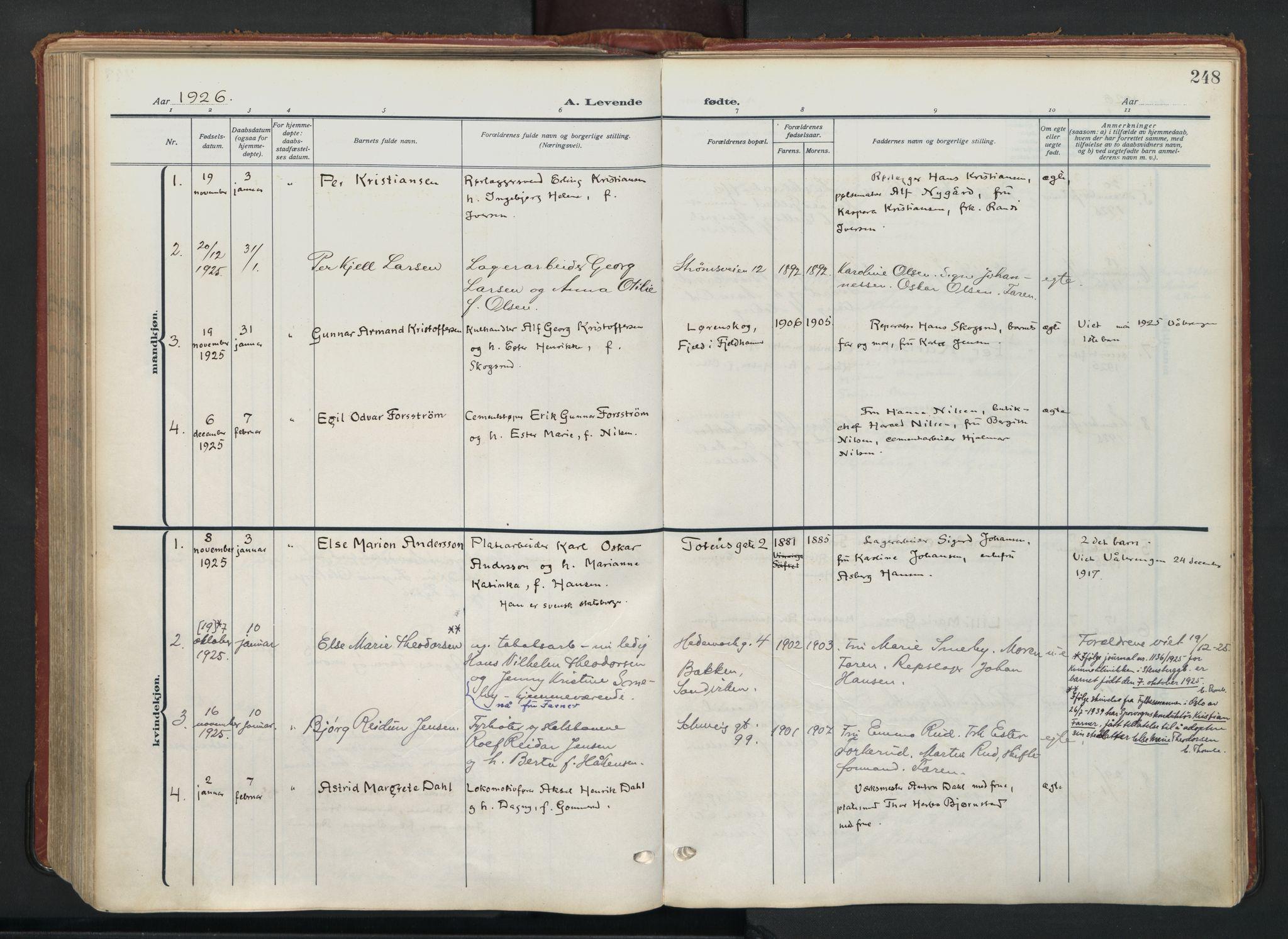 SAO, Vålerengen prestekontor Kirkebøker, F/Fa/L0004: Ministerialbok nr. 4, 1915-1929, s. 248