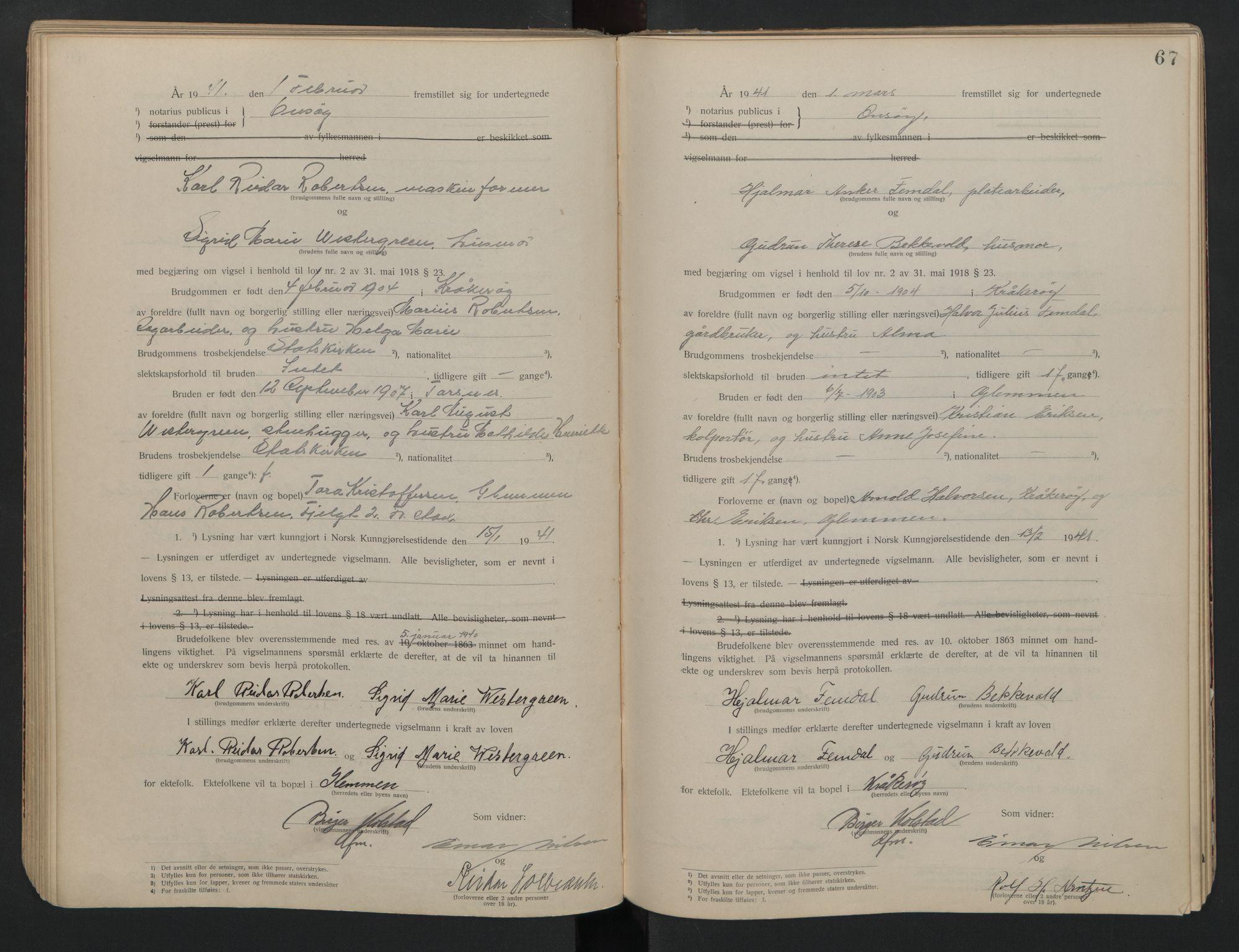 SAO, Onsøy sorenskriveri, L/La/L0001: Vigselsbok, 1920-1942, s. 67