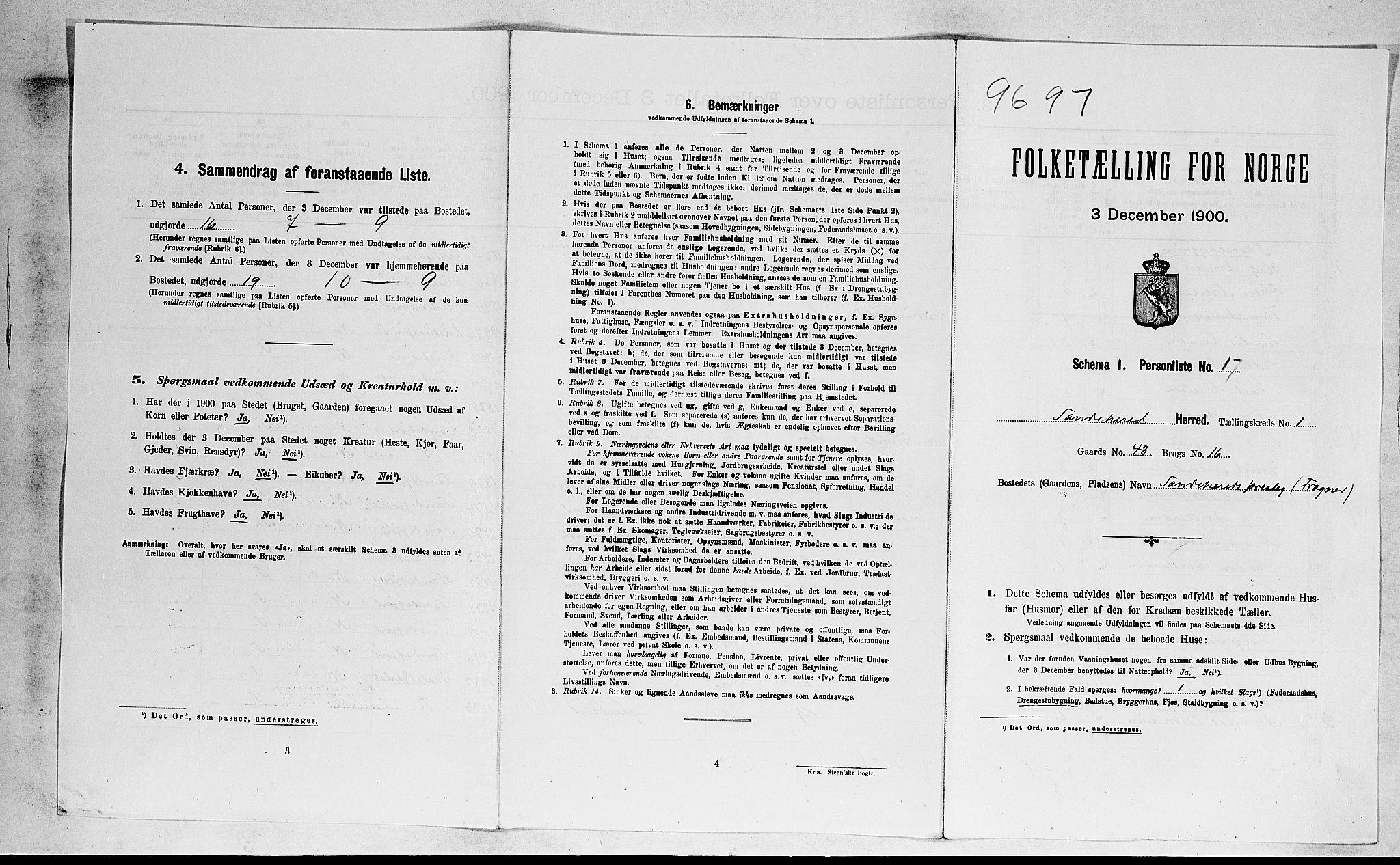 RA, Folketelling 1900 for 0724 Sandeherred herred, 1900, s. 206