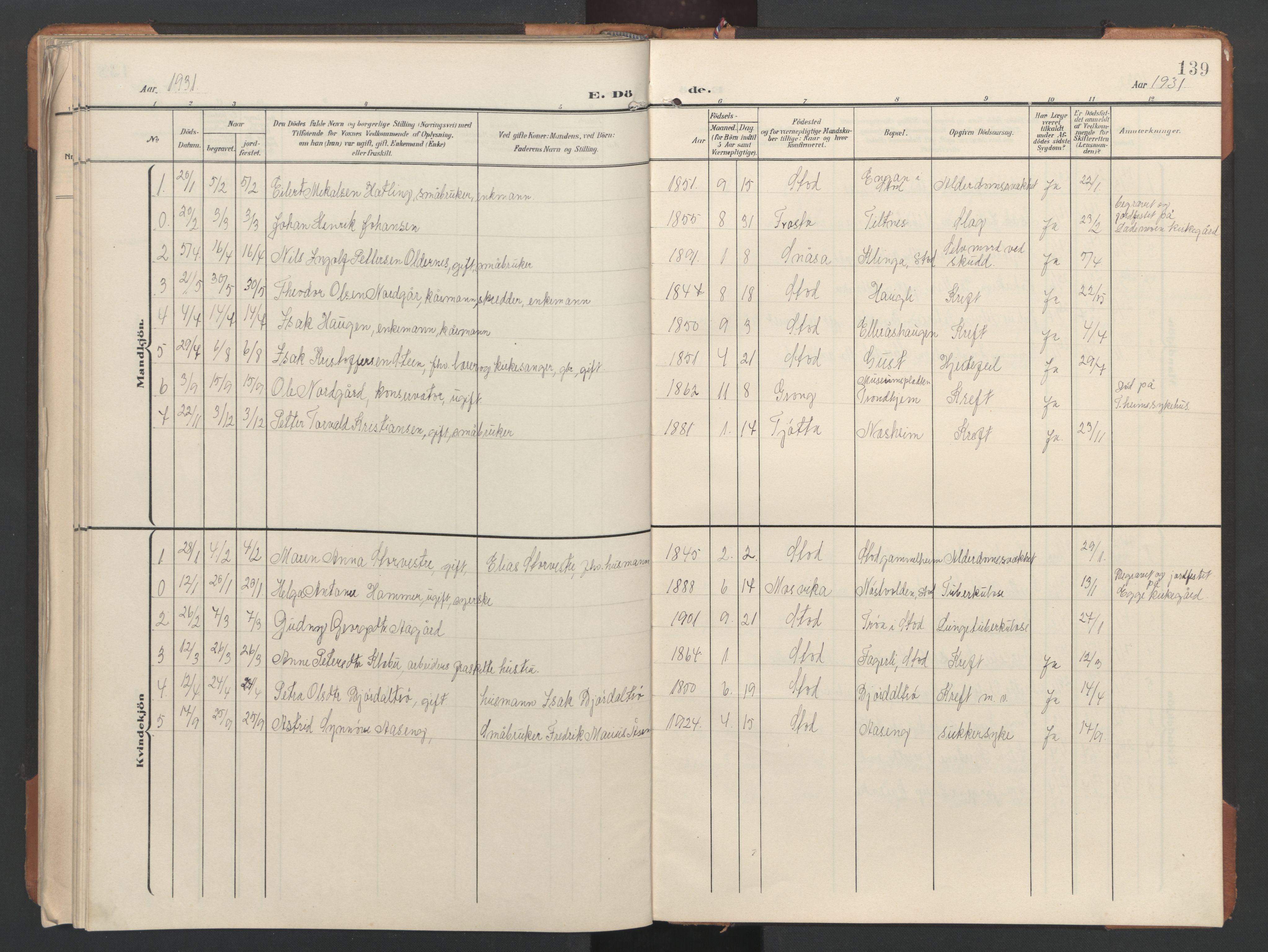 SAT, Ministerialprotokoller, klokkerbøker og fødselsregistre - Nord-Trøndelag, 746/L0455: Klokkerbok nr. 746C01, 1908-1933, s. 139