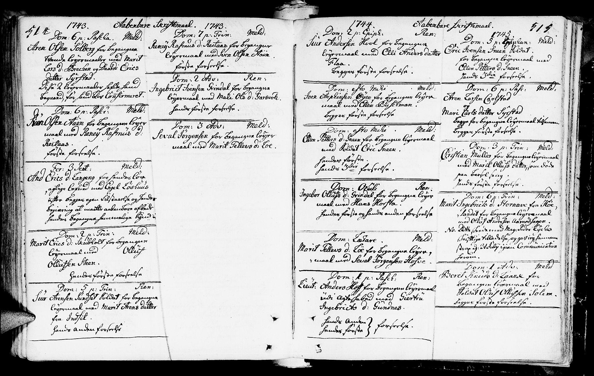 SAT, Ministerialprotokoller, klokkerbøker og fødselsregistre - Sør-Trøndelag, 672/L0850: Ministerialbok nr. 672A03, 1725-1751, s. 514-515