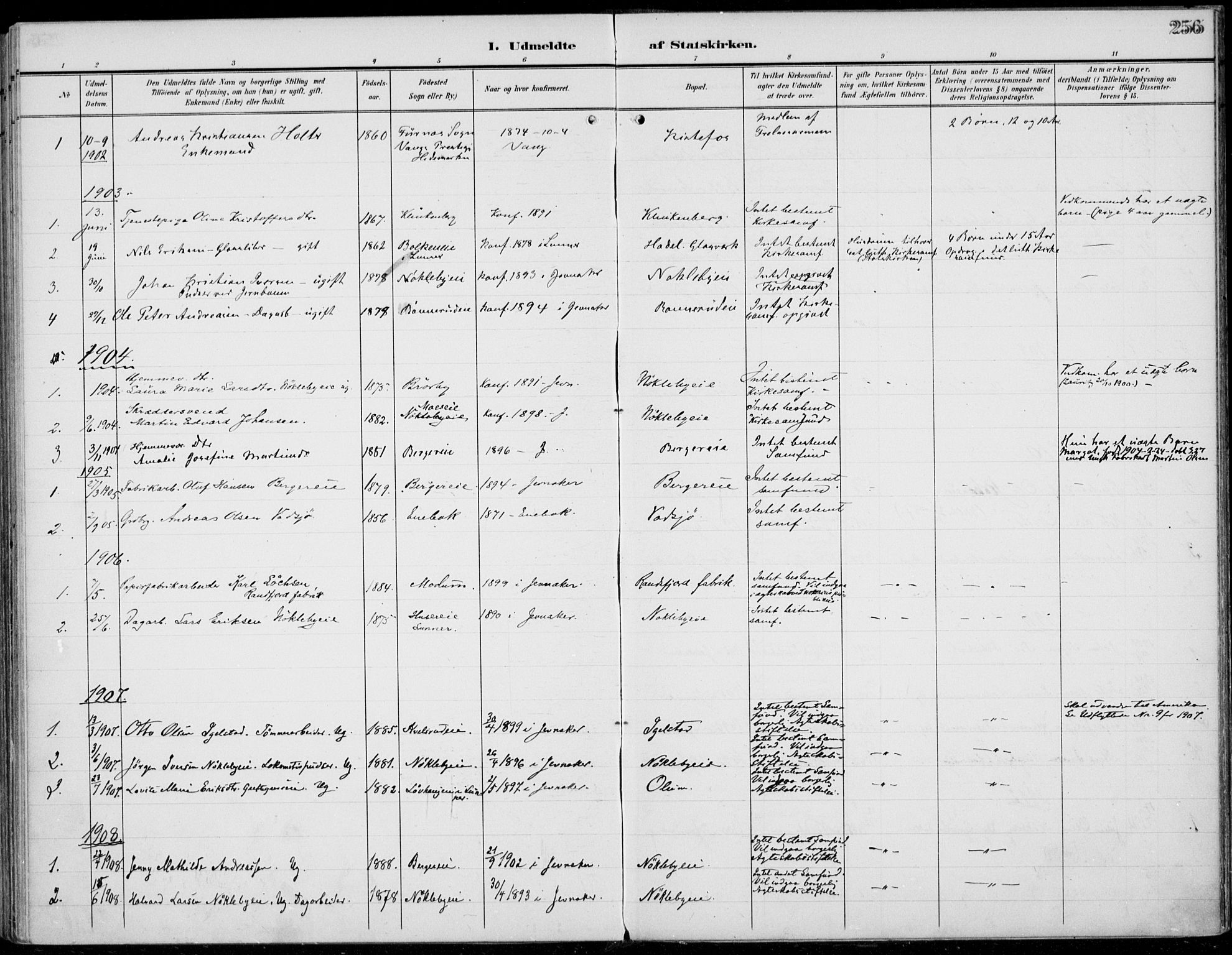 SAH, Jevnaker prestekontor, Ministerialbok nr. 11, 1902-1913, s. 256