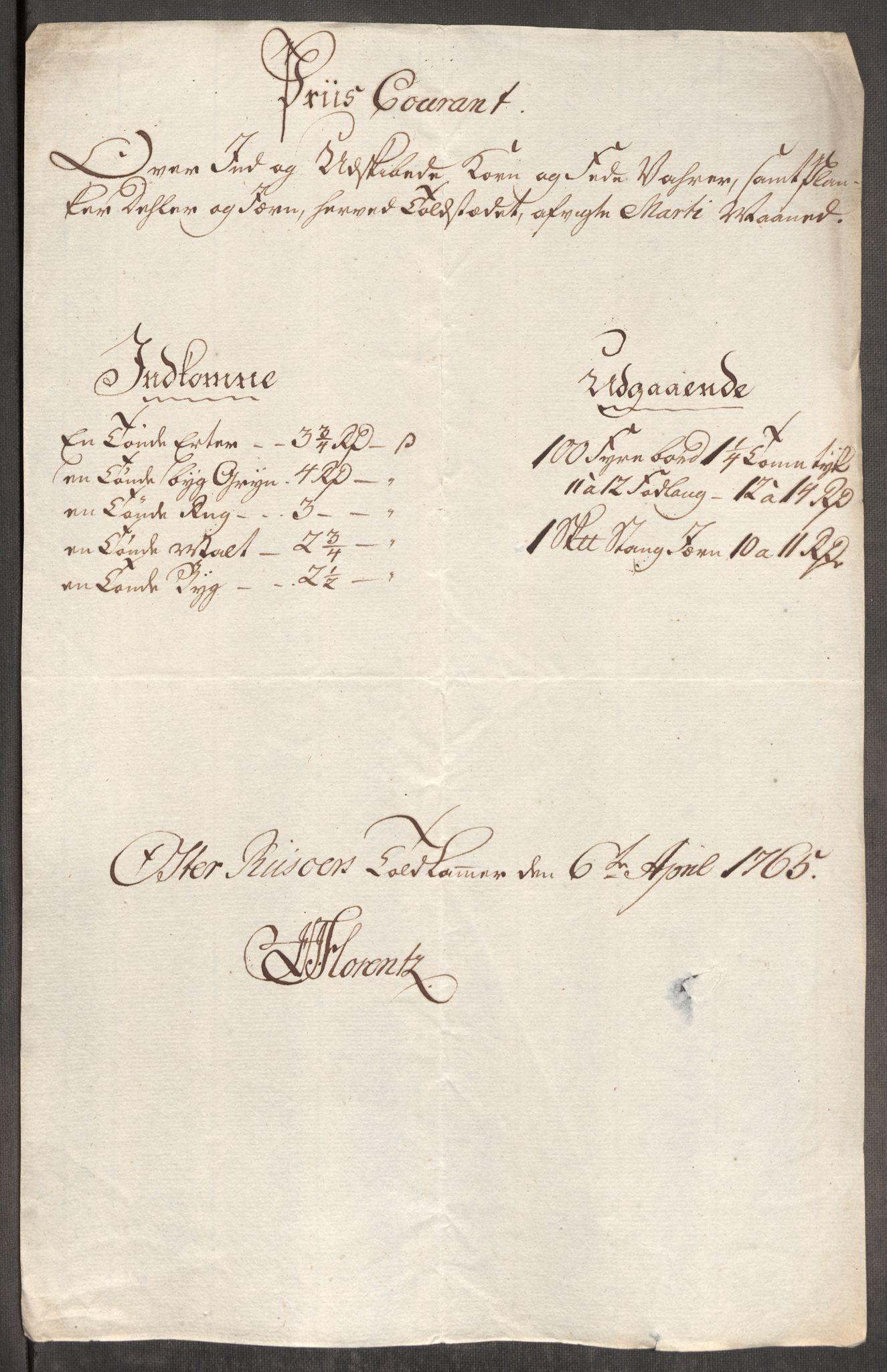 RA, Rentekammeret inntil 1814, Realistisk ordnet avdeling, Oe/L0008: [Ø1]: Priskuranter, 1764-1768, s. 426
