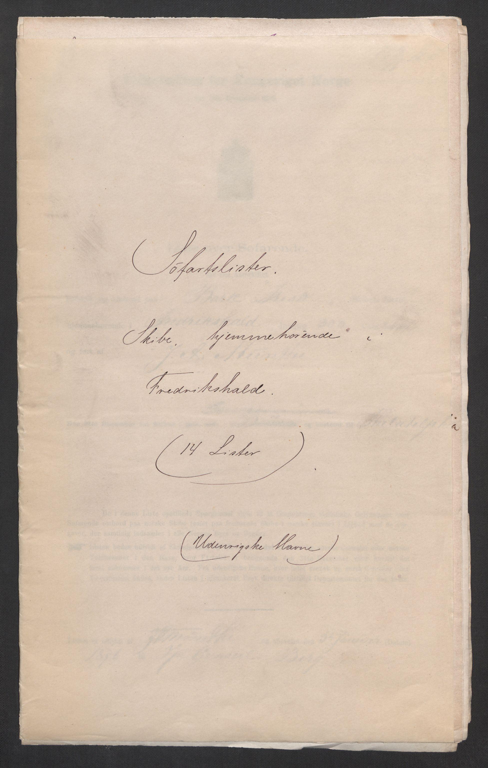 RA, Folketelling 1875, skipslister: Skip i utenrikske havner, hjemmehørende i byer og ladesteder, Fredrikshald - Arendal, 1875