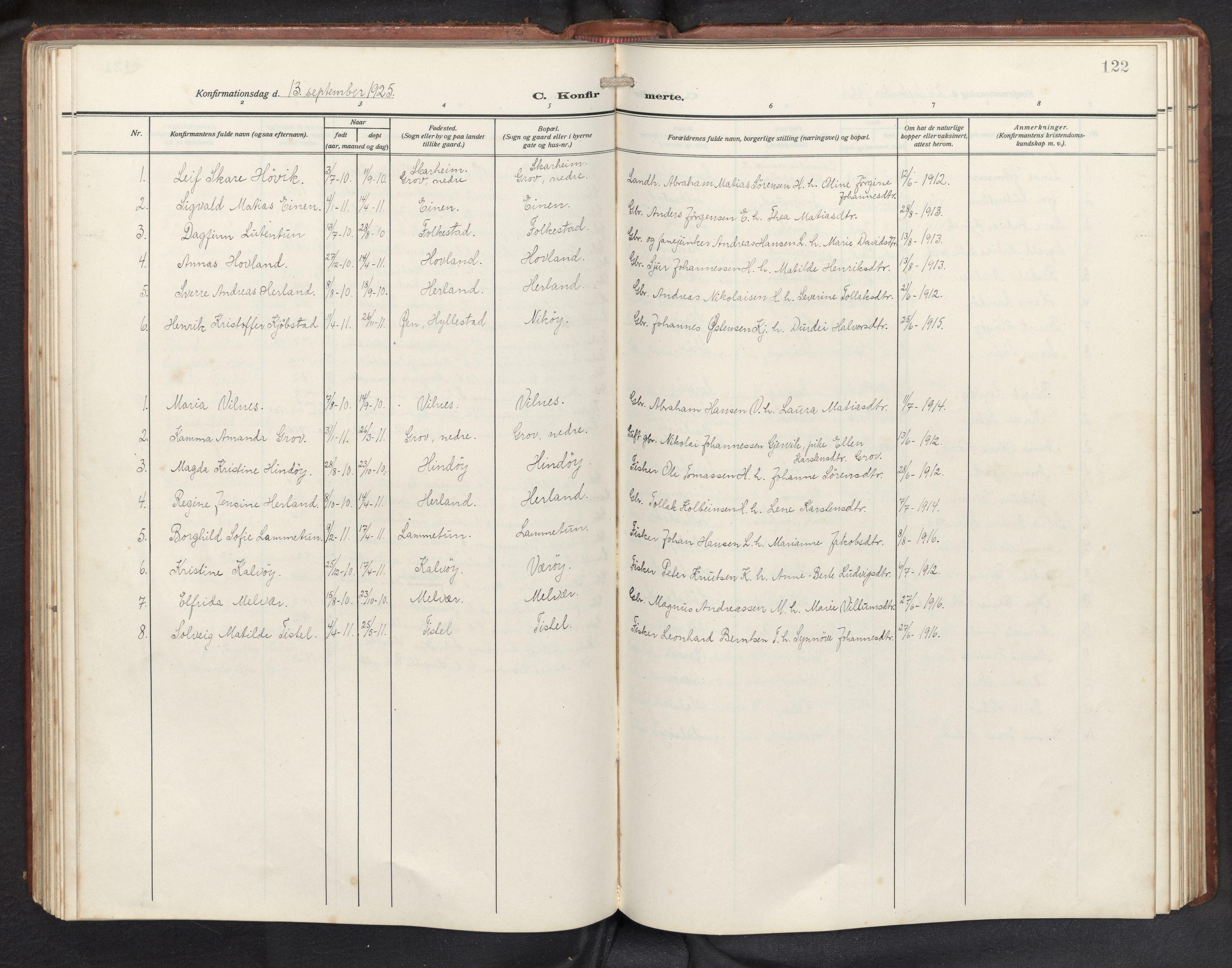 SAB, Askvoll sokneprestembete, H/Hab/Habb/L0002: Klokkerbok nr. B 2, 1910-1947, s. 121b-122a