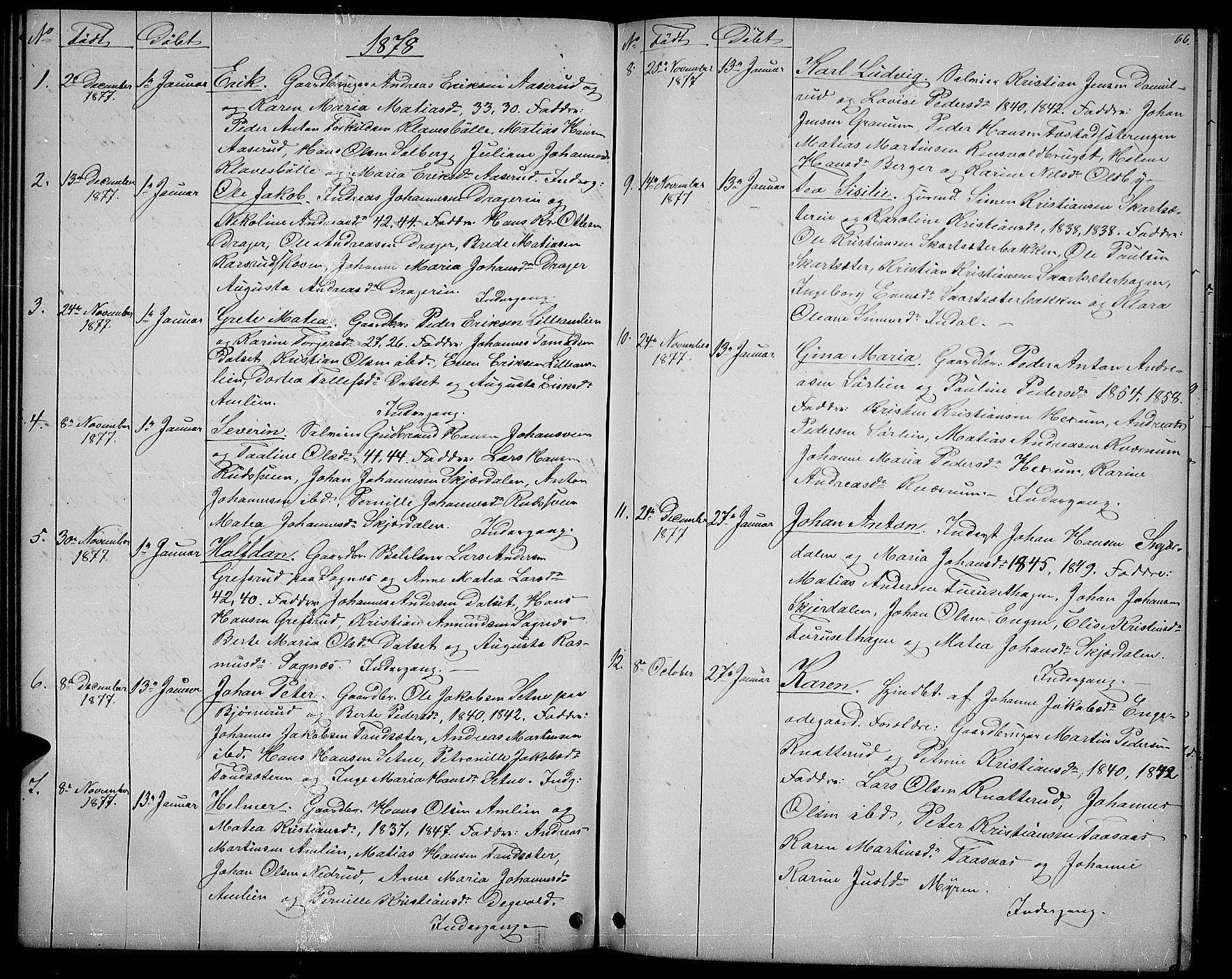 SAH, Vestre Toten prestekontor, H/Ha/Hab/L0006: Klokkerbok nr. 6, 1870-1887, s. 66