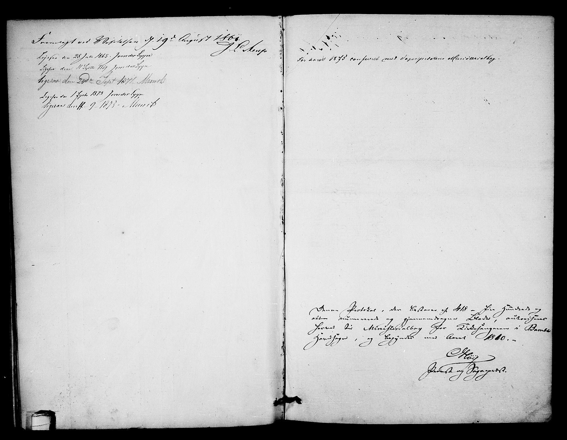 SAKO, Bamble kirkebøker, G/Ga/L0006: Klokkerbok nr. I 6, 1860-1876