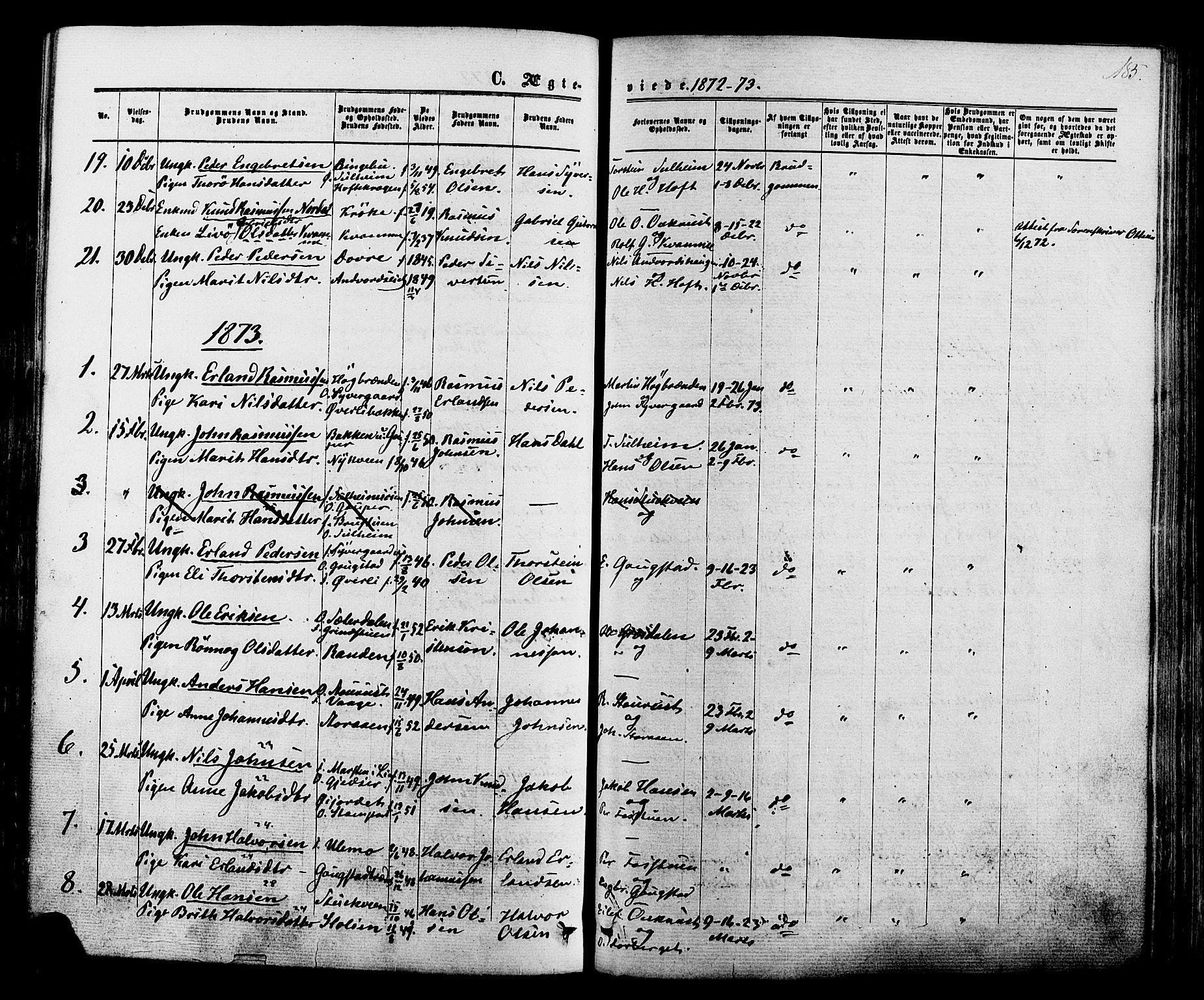 SAH, Lom prestekontor, K/L0007: Ministerialbok nr. 7, 1863-1884, s. 185