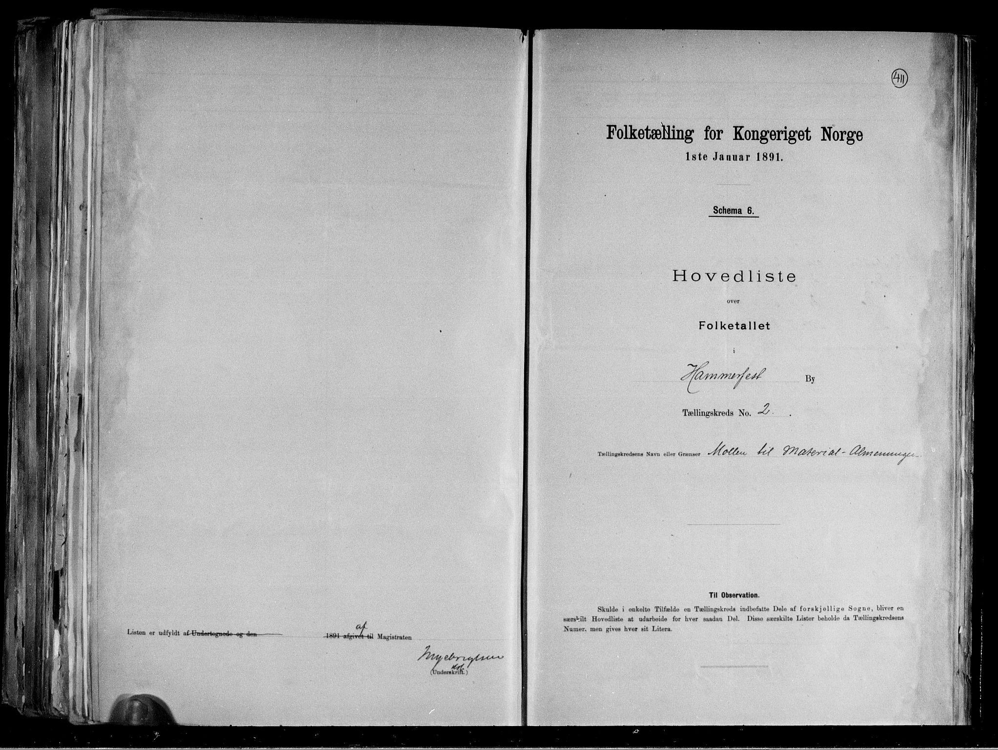RA, Folketelling 1891 for 2001 Hammerfest kjøpstad, 1891, s. 7