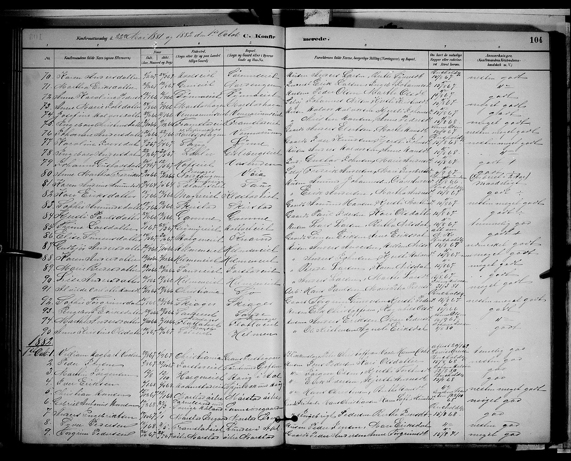SAH, Gran prestekontor, Klokkerbok nr. 2, 1879-1892, s. 104
