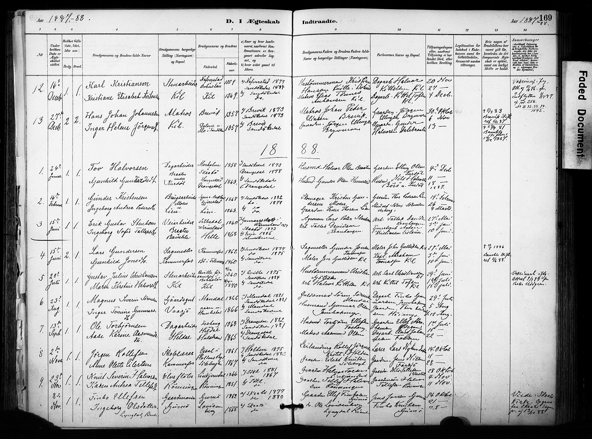 SAKO, Sannidal kirkebøker, F/Fa/L0015: Ministerialbok nr. 15, 1884-1899, s. 169