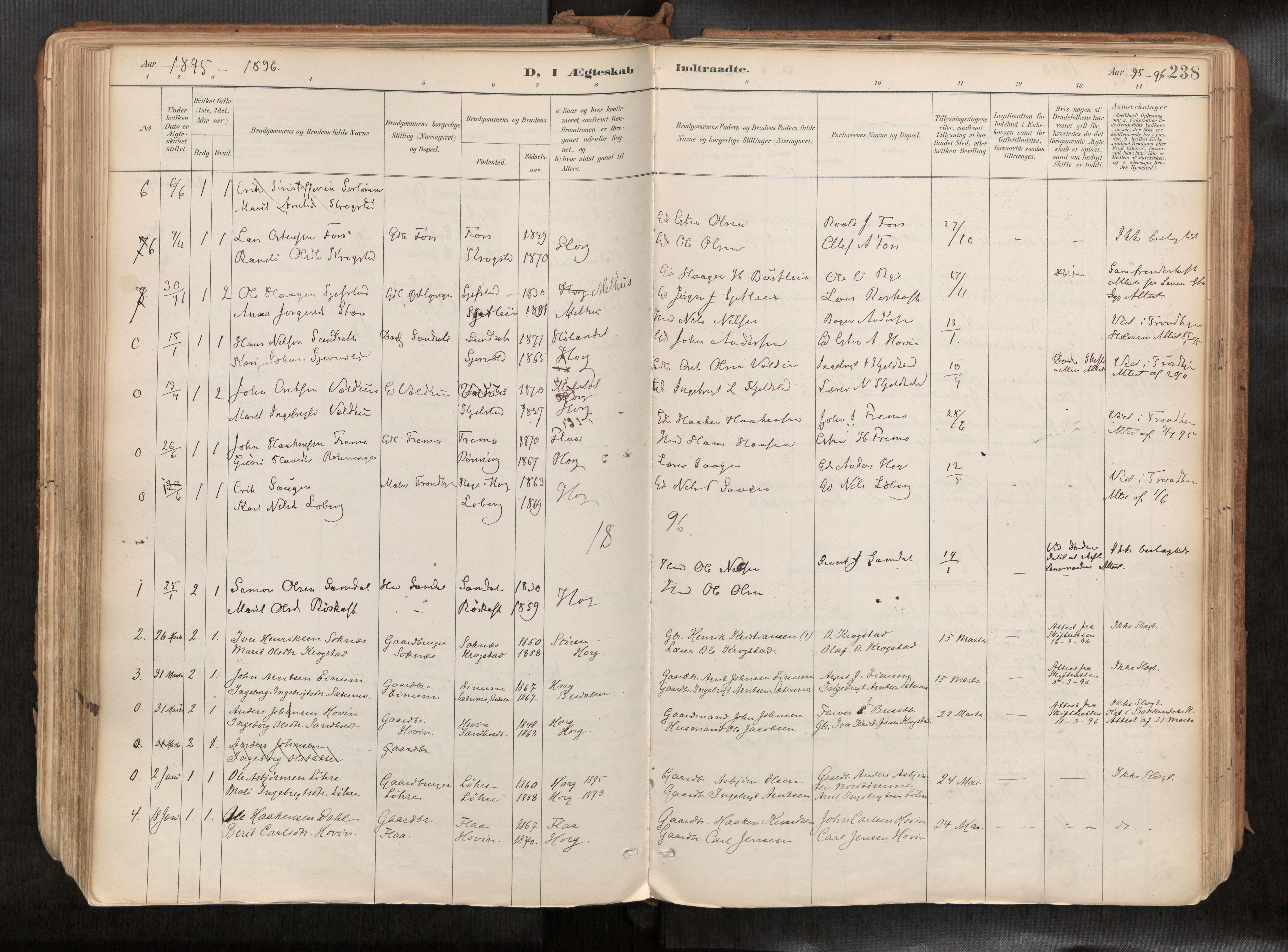 SAT, Ministerialprotokoller, klokkerbøker og fødselsregistre - Sør-Trøndelag, 692/L1105b: Ministerialbok nr. 692A06, 1891-1934, s. 238