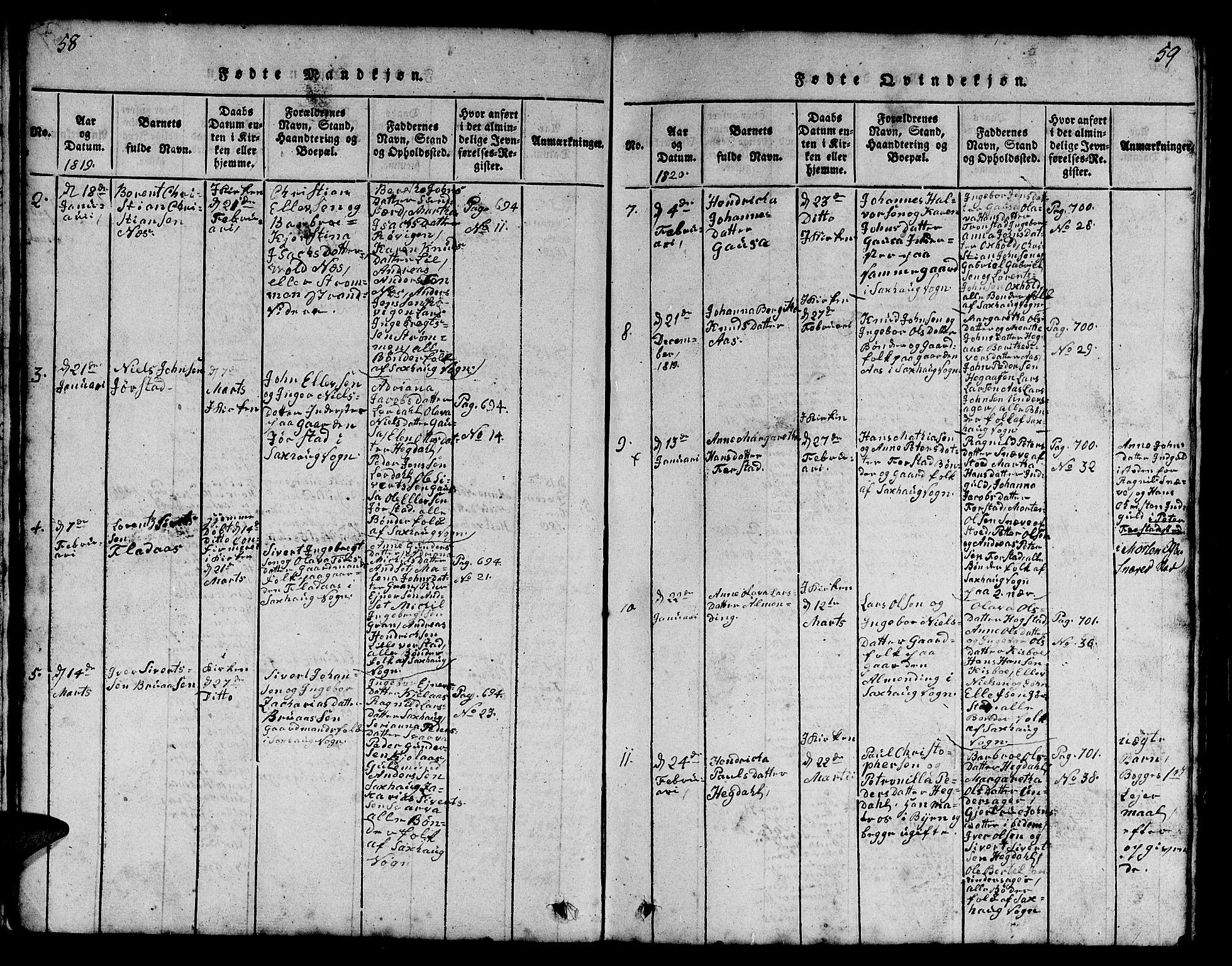 SAT, Ministerialprotokoller, klokkerbøker og fødselsregistre - Nord-Trøndelag, 730/L0298: Klokkerbok nr. 730C01, 1816-1849, s. 58-59