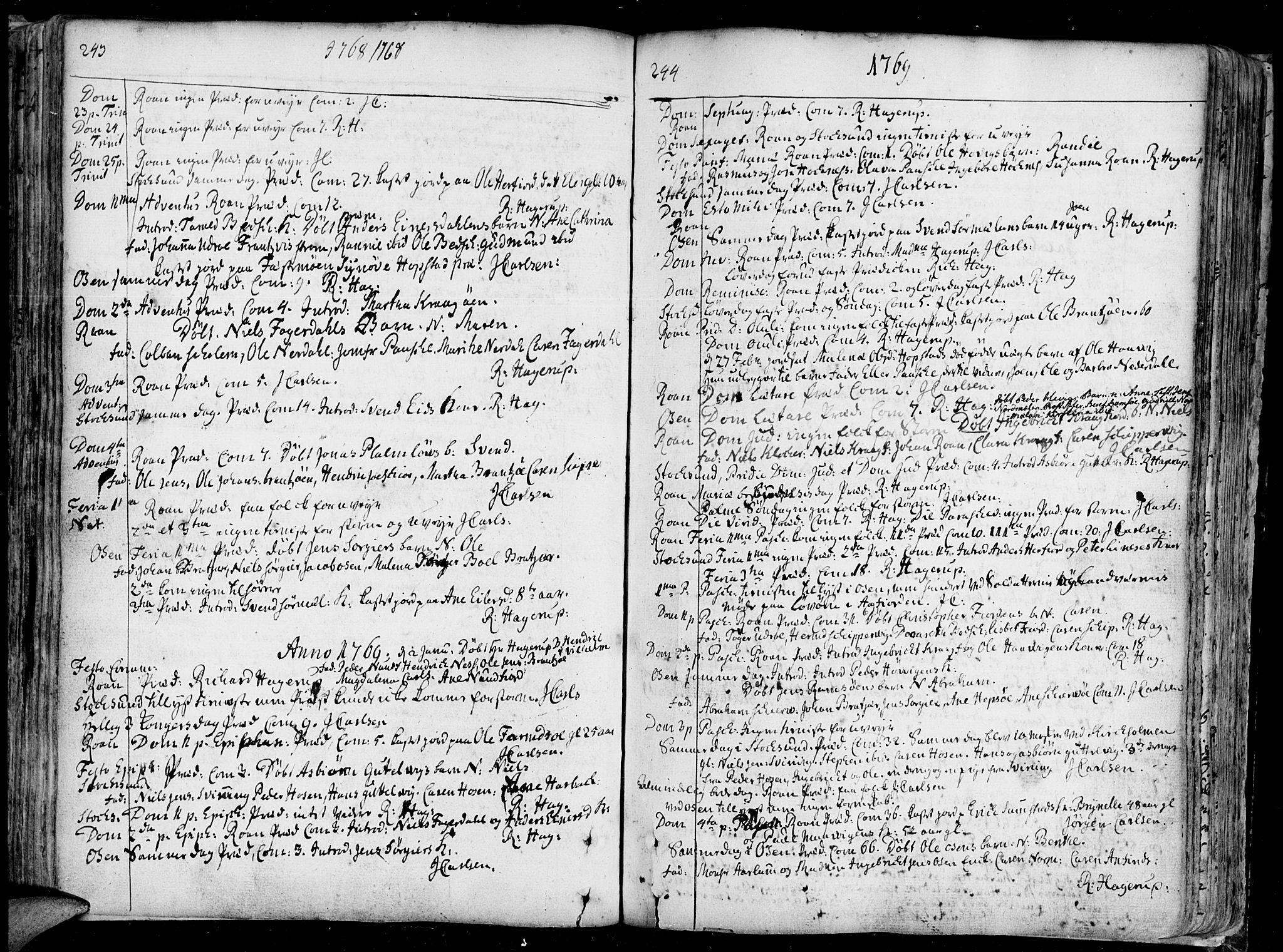 SAT, Ministerialprotokoller, klokkerbøker og fødselsregistre - Sør-Trøndelag, 657/L0700: Ministerialbok nr. 657A01, 1732-1801, s. 243-244