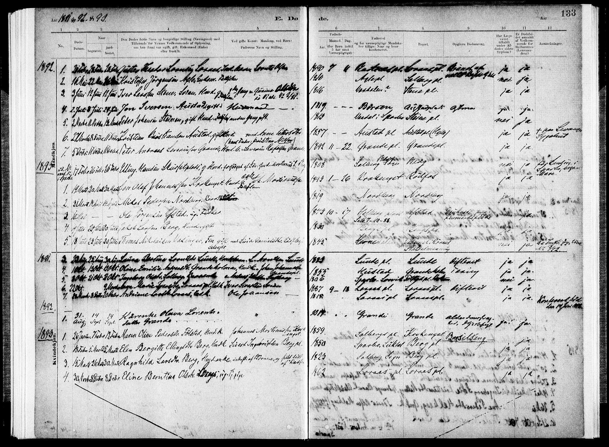 SAT, Ministerialprotokoller, klokkerbøker og fødselsregistre - Nord-Trøndelag, 731/L0309: Ministerialbok nr. 731A01, 1879-1918, s. 133