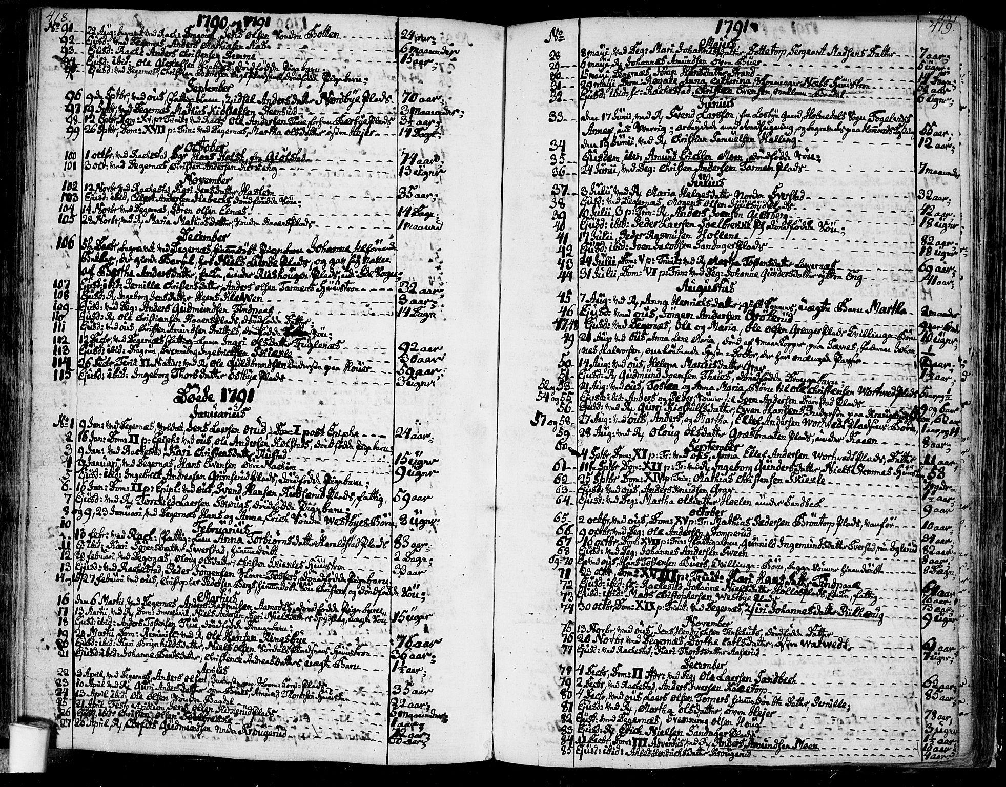 SAO, Rakkestad prestekontor Kirkebøker, F/Fa/L0005: Ministerialbok nr. I 5, 1784-1814, s. 418-419