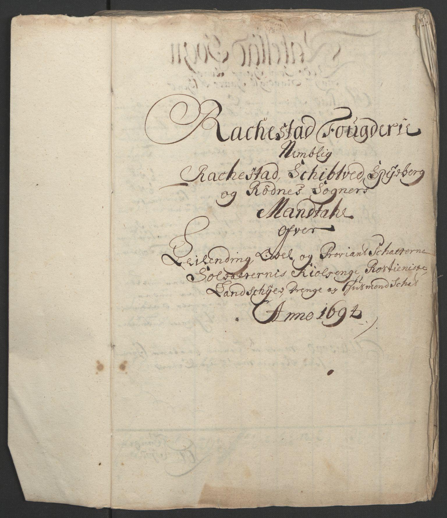 RA, Rentekammeret inntil 1814, Reviderte regnskaper, Fogderegnskap, R07/L0284: Fogderegnskap Rakkestad, Heggen og Frøland, 1694, s. 62