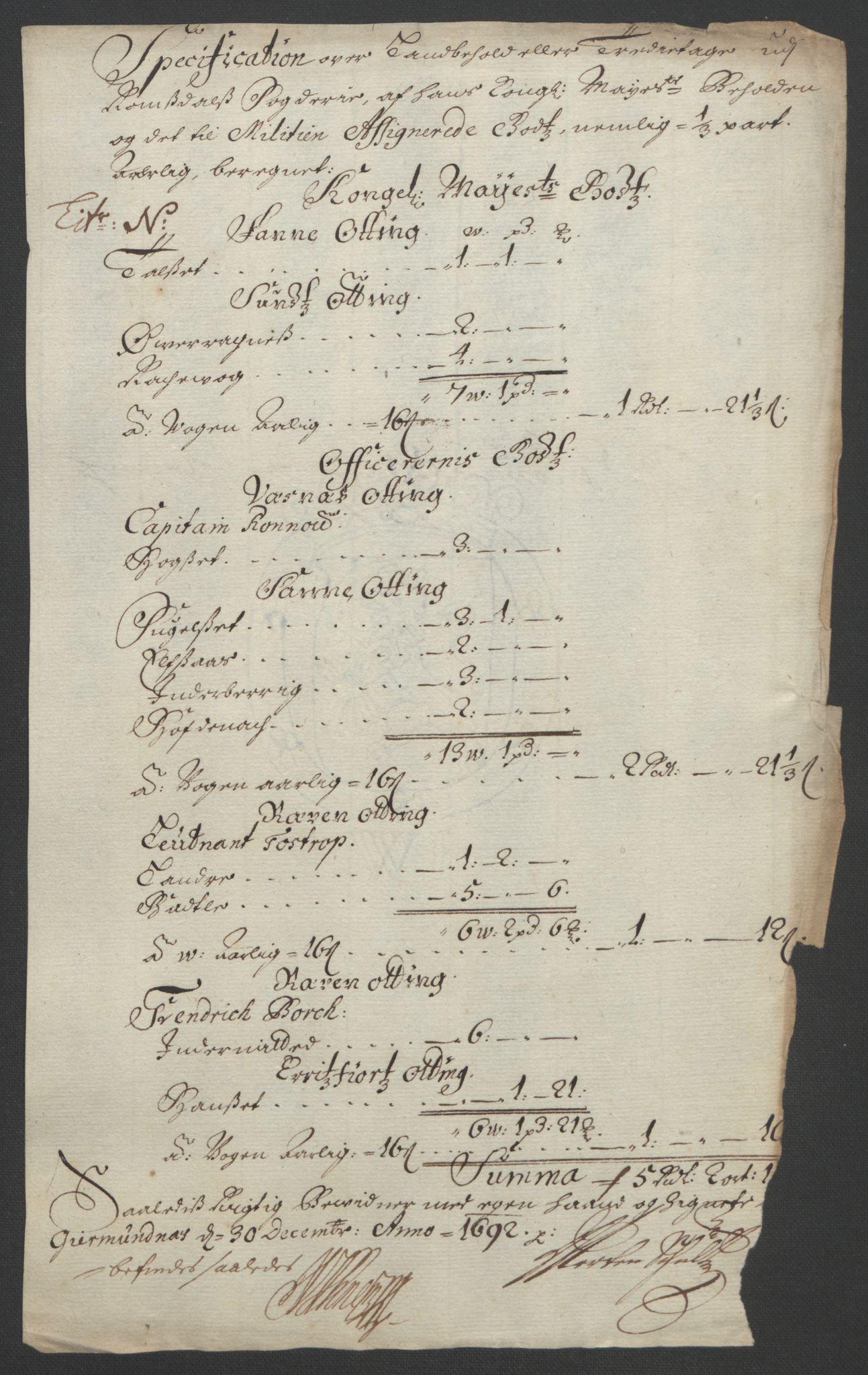 RA, Rentekammeret inntil 1814, Reviderte regnskaper, Fogderegnskap, R55/L3650: Fogderegnskap Romsdal, 1692, s. 160